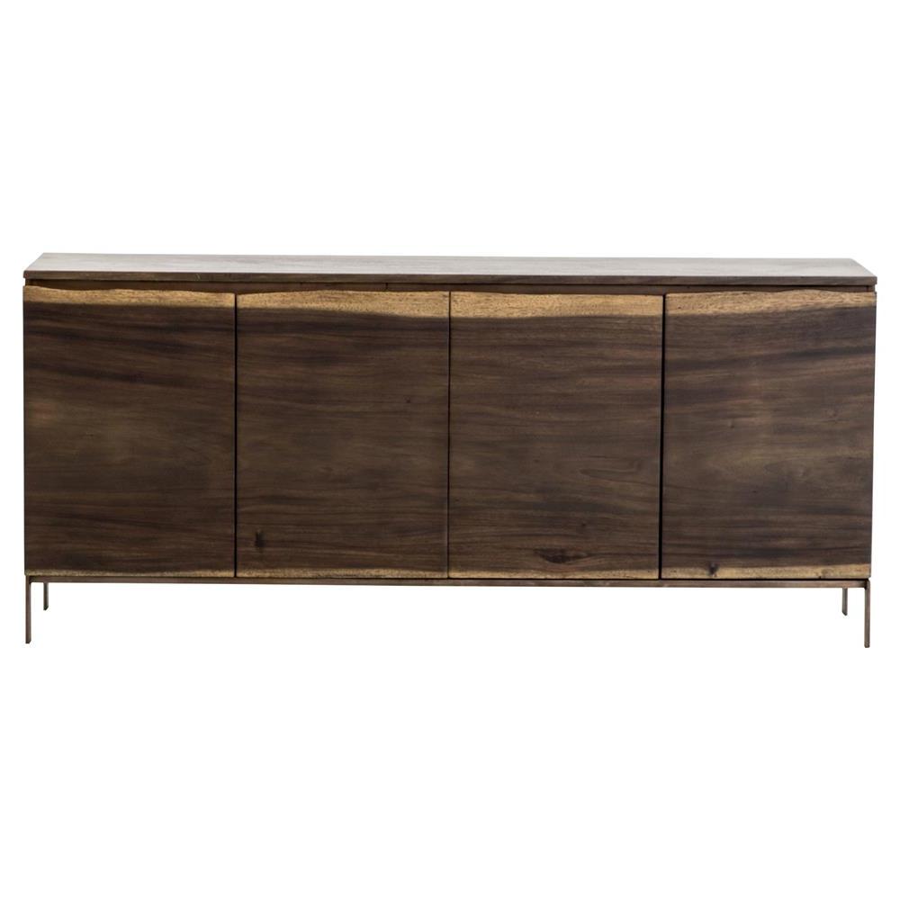 Recent 4 Door/4 Drawer Metal Inserts Sideboards With Regard To Kenner Rustic Lodge Live Edge Dark Wood 4 Door Sideboard (View 14 of 20)