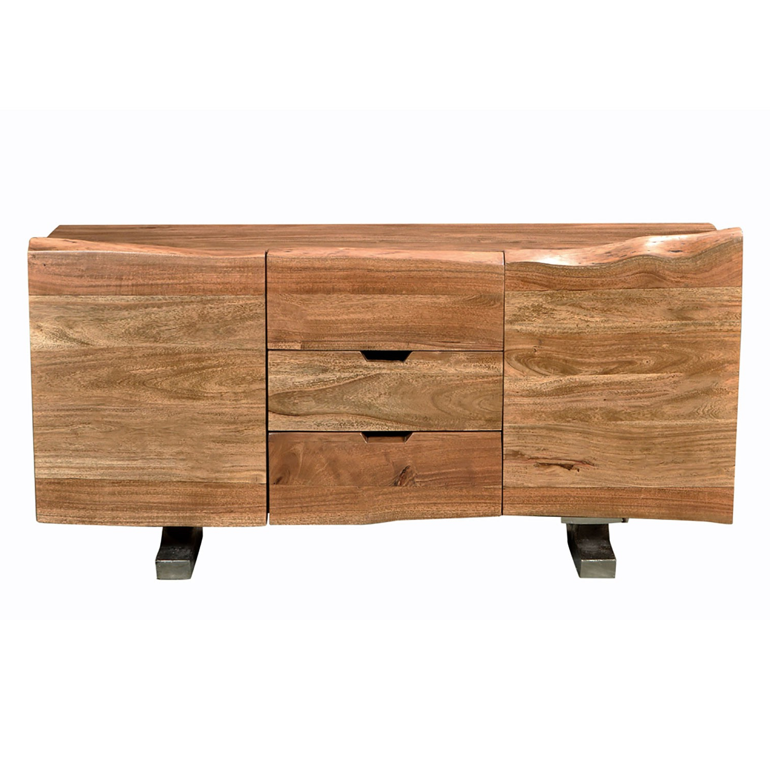 Recent Acacia Wood 4 Door Sideboards Intended For Earth Collection Buffet 60*18*28, Acacia Wood W/ Iron Legs On Raw (View 14 of 20)
