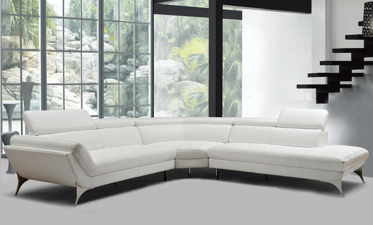 Recent Divani Casa Graphite Modern White Leather Sectional Sofa – New Products In Lucy Grey 2 Piece Sectionals With Raf Chaise (View 17 of 20)
