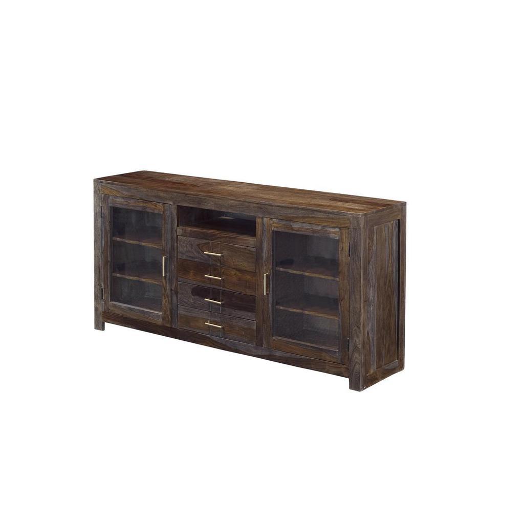 Recent Grayson Sheesham – Four Drawer Two Door Media Console – Casaza Regarding 4 Door/4 Drawer Metal Inserts Sideboards (Gallery 17 of 20)