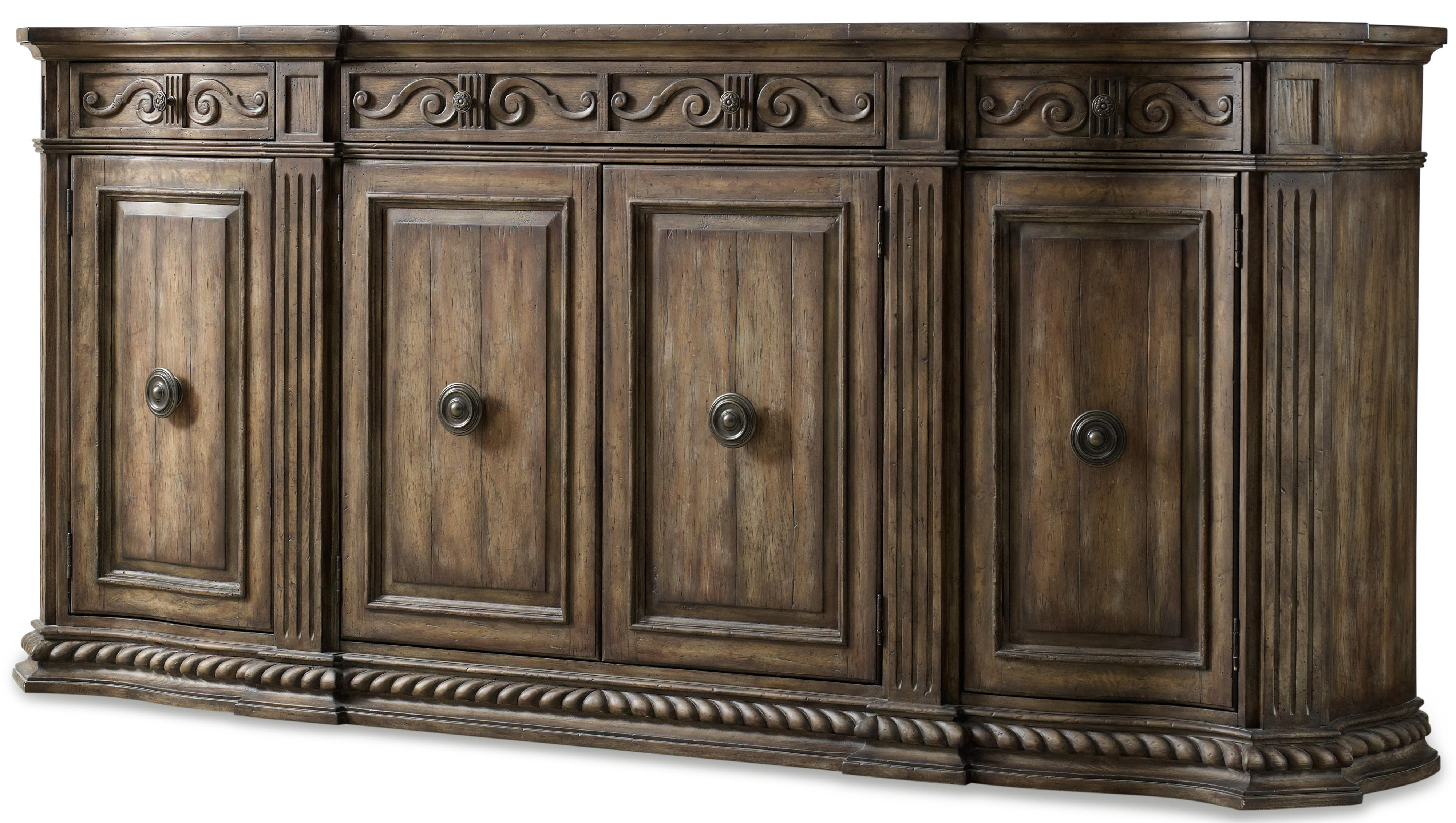 Recent Hooker Furniture Rhapsody 5070 85002 96 Inch Credenza With Rope Regarding Bale Rustic Grey Sideboards (View 7 of 20)