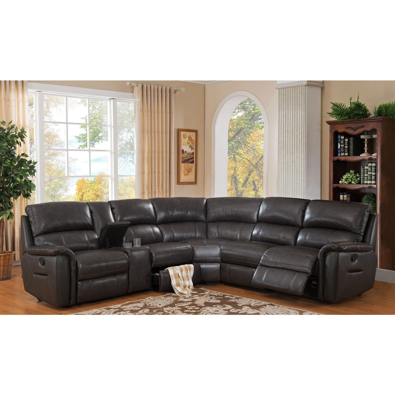 Recent Kristen Silver Grey 6 Piece Power Reclining Sectionals In Shop Hydelineamax Camino Charcoal Grey Leather Reclining (View 13 of 20)