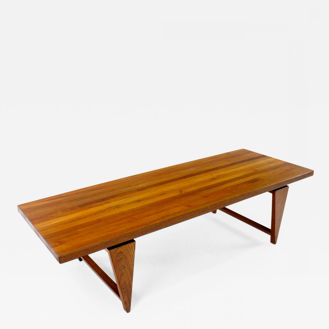 Recent Large Teak Coffee Tables Inside Large Danish Modern Solid Staved Teak Coffee Table (Gallery 1 of 20)