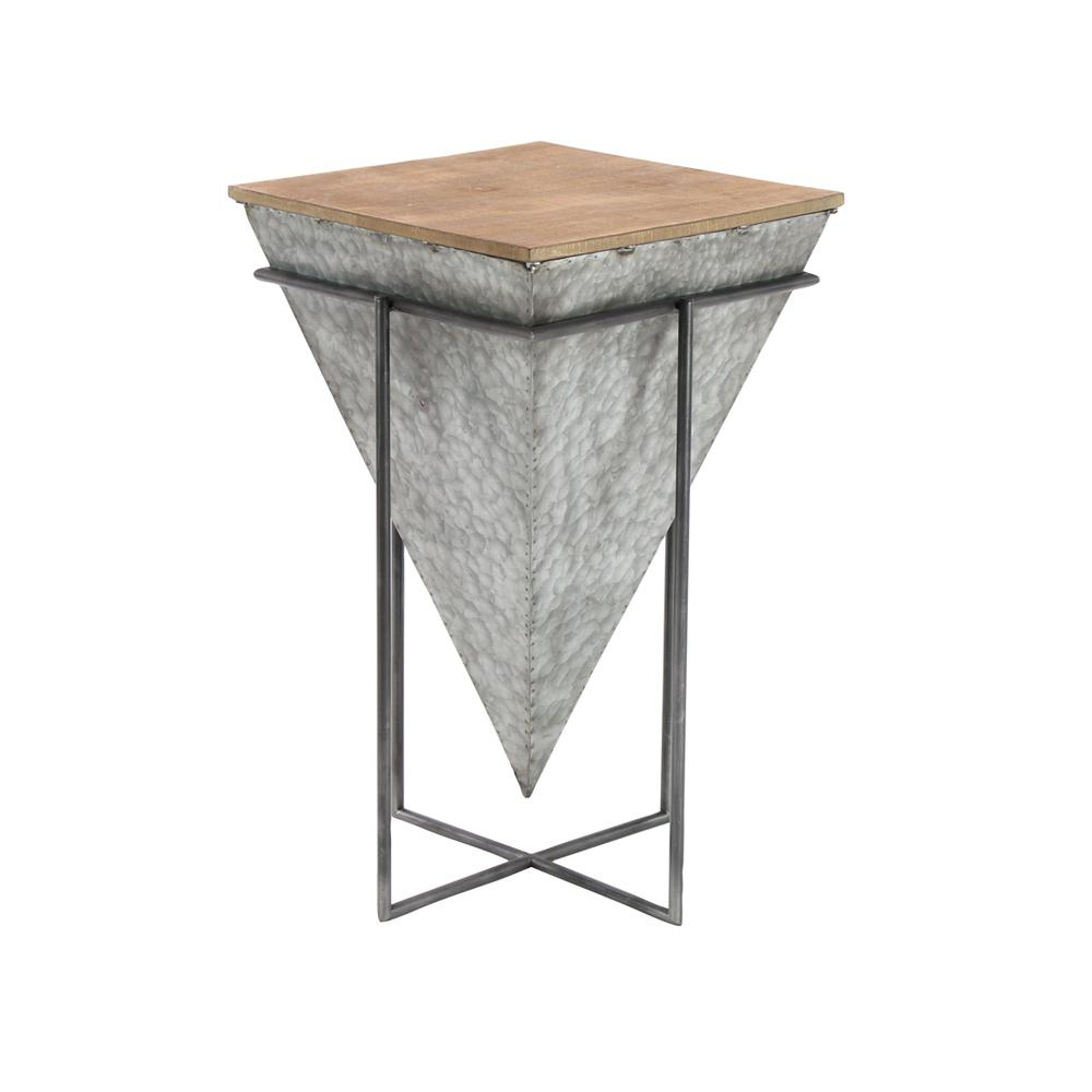 Recent Litton Lane Gray Inverted Pyramid Shaped Accent Table With Beige Intended For Inverted Triangle Coffee Tables (Gallery 6 of 20)