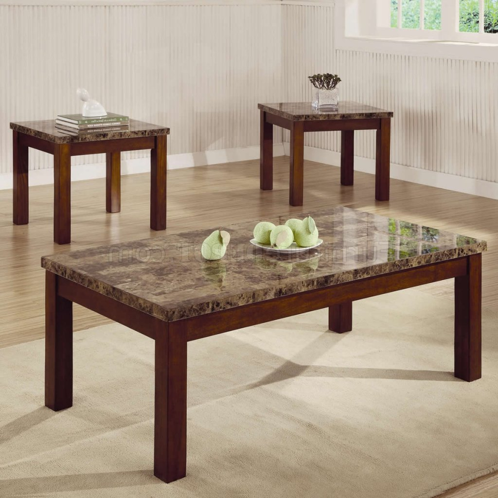 Recent Marble Like Top & Dark Oak Finish Modern 3pc Coffee Table Set With Regard To Modern Marble Iron Coffee Tables (View 19 of 20)