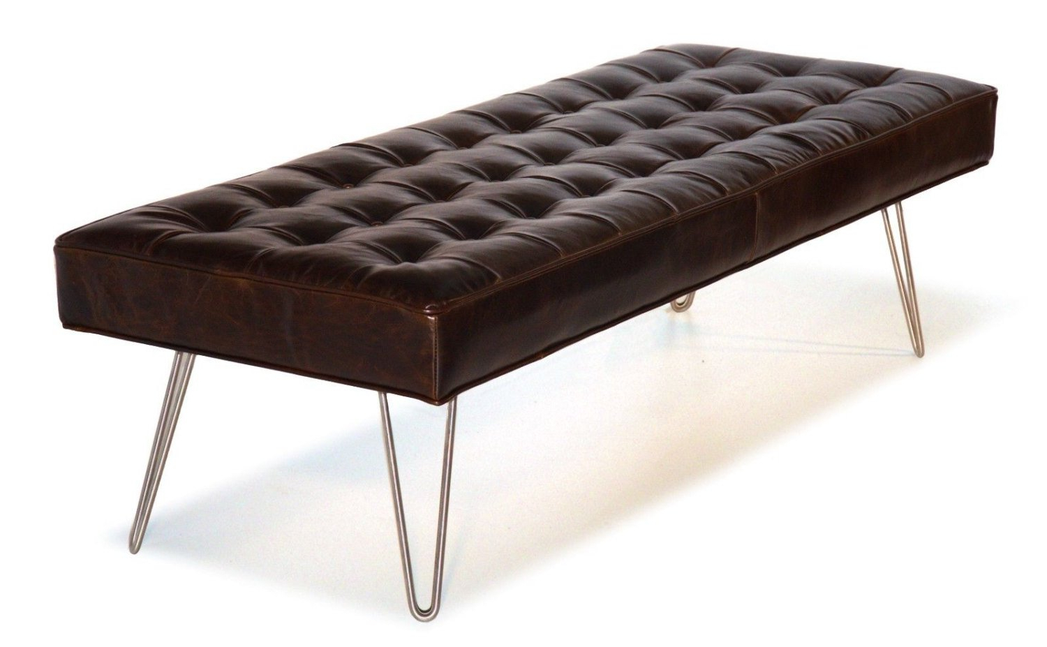 Recent Mid Century Modern, Dark Brown, Button Tufting Leather Bench Ottoman Pertaining To Button Tufted Coffee Tables (Gallery 16 of 20)