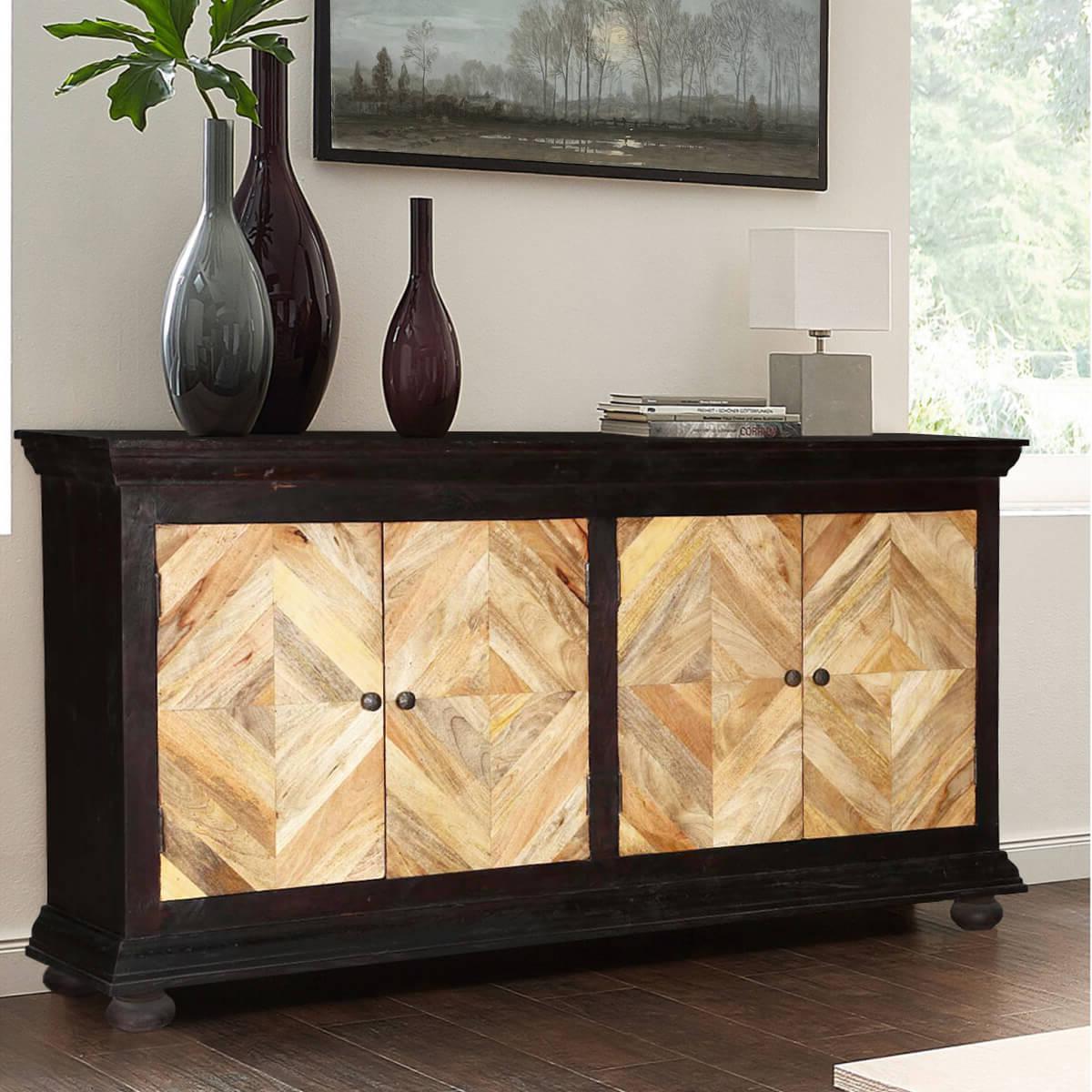 Recent Parquet Mango Wood Diamond Door Buffet Cabinet With Regard To Parquet Sideboards (View 15 of 20)