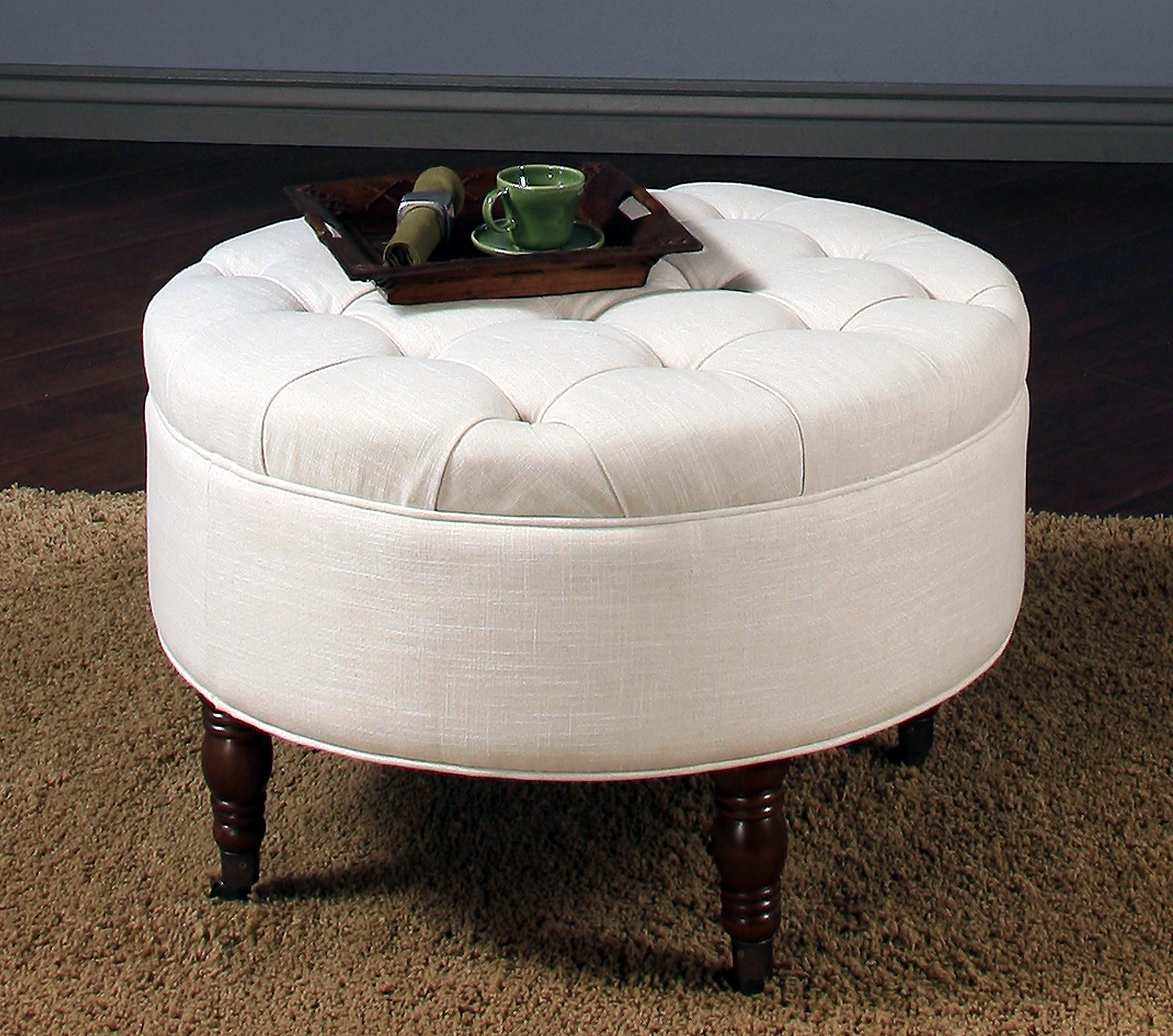 Recent Round Button Tufted Coffee Tables With Coffee Table: Round Tufted Storage Ottoman Coffee Table Design Round (View 3 of 20)