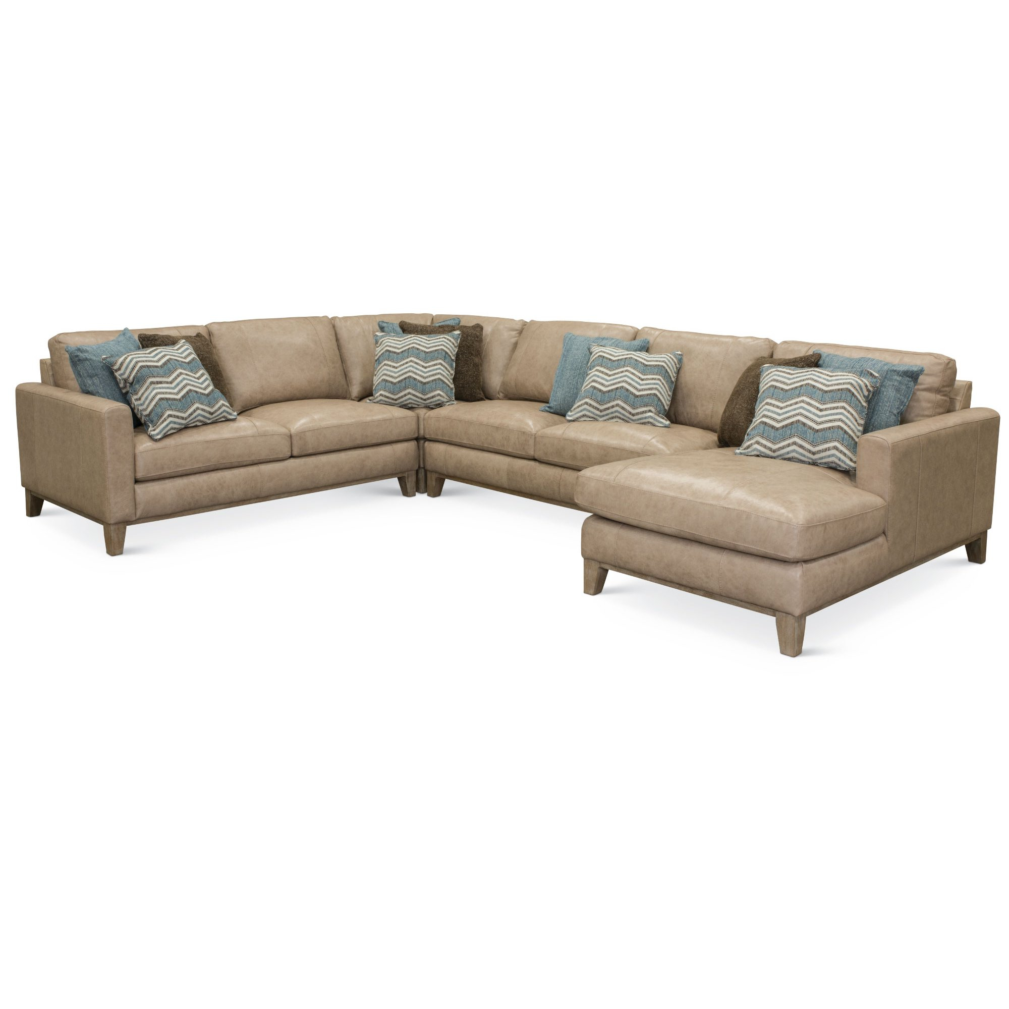 Recent Sand Leather 4 Piece Sectional Sofa With Laf Chaise – Mutual (Gallery 9 of 20)