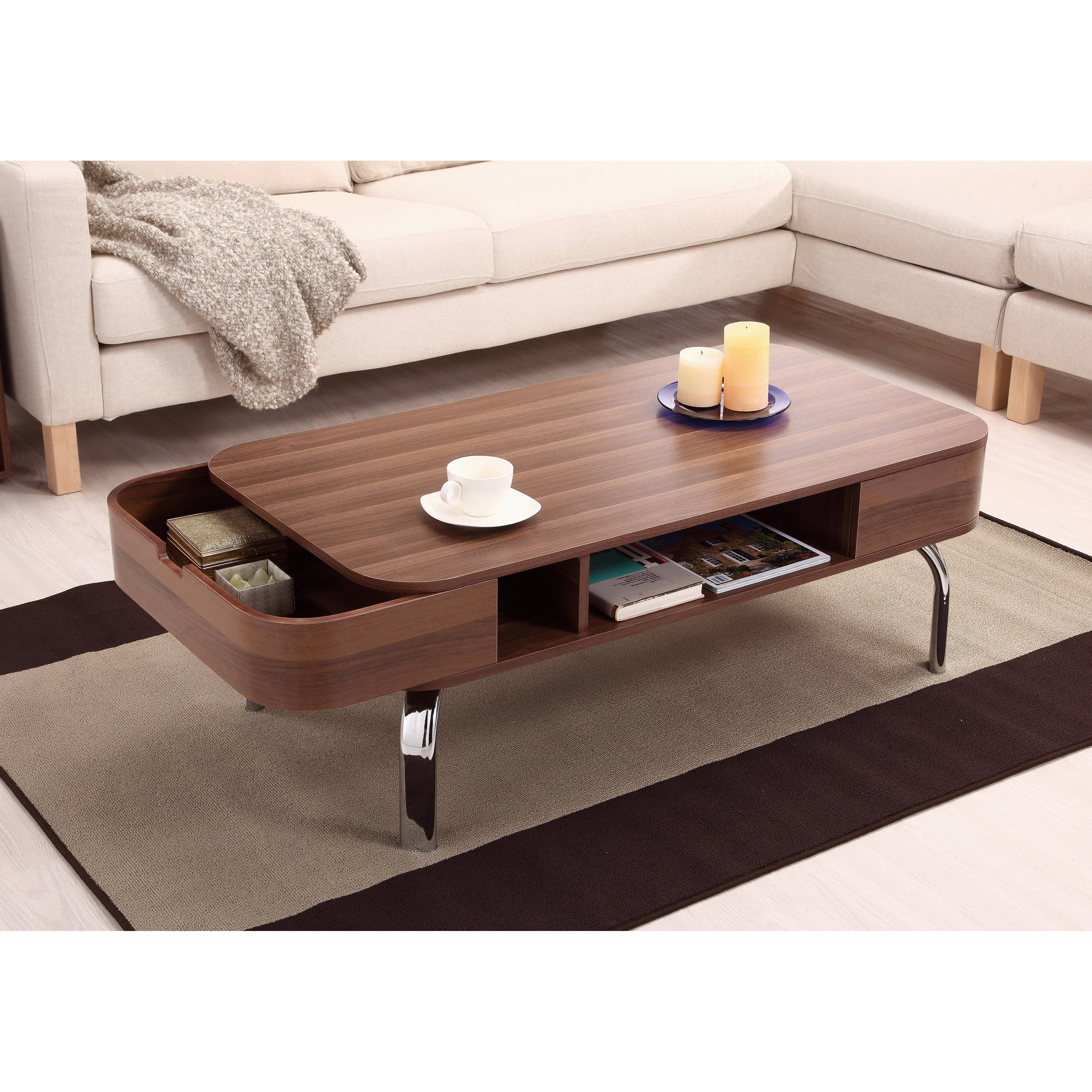 Recent Shop Furniture Of America Berkley Mid Century Modern Walnut Coffee In Contemporary Curves Coffee Tables (View 17 of 20)