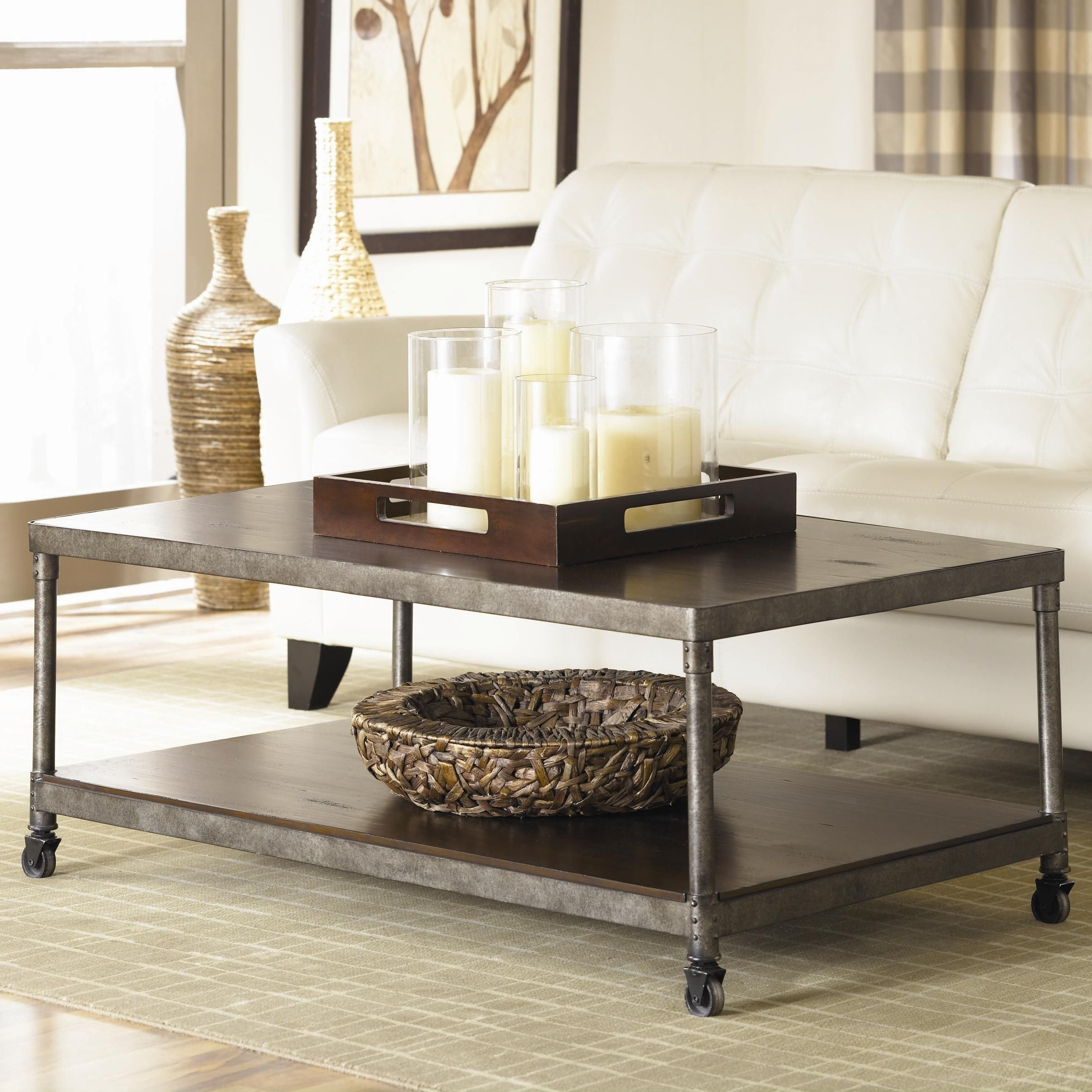 Recent Structure Metal Coffee Table W/ Lower Shelfhammary – Stoney With Ontario Cocktail Tables With Casters (View 14 of 20)