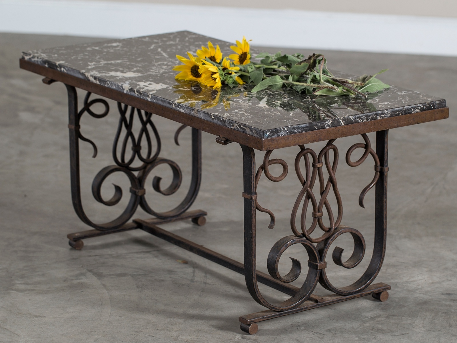 Recent Vintage French Art Nouveau Iron And Marble Coffee Table France Circa Within Iron Marble Coffee Tables (View 16 of 20)