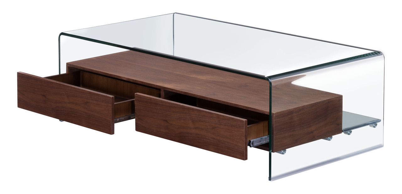 Recent Walnut 4 Drawer Coffee Tables For Shaman Coffee Table In Curved Glass W/ Thick Walnut Finish Shelf (View 14 of 20)