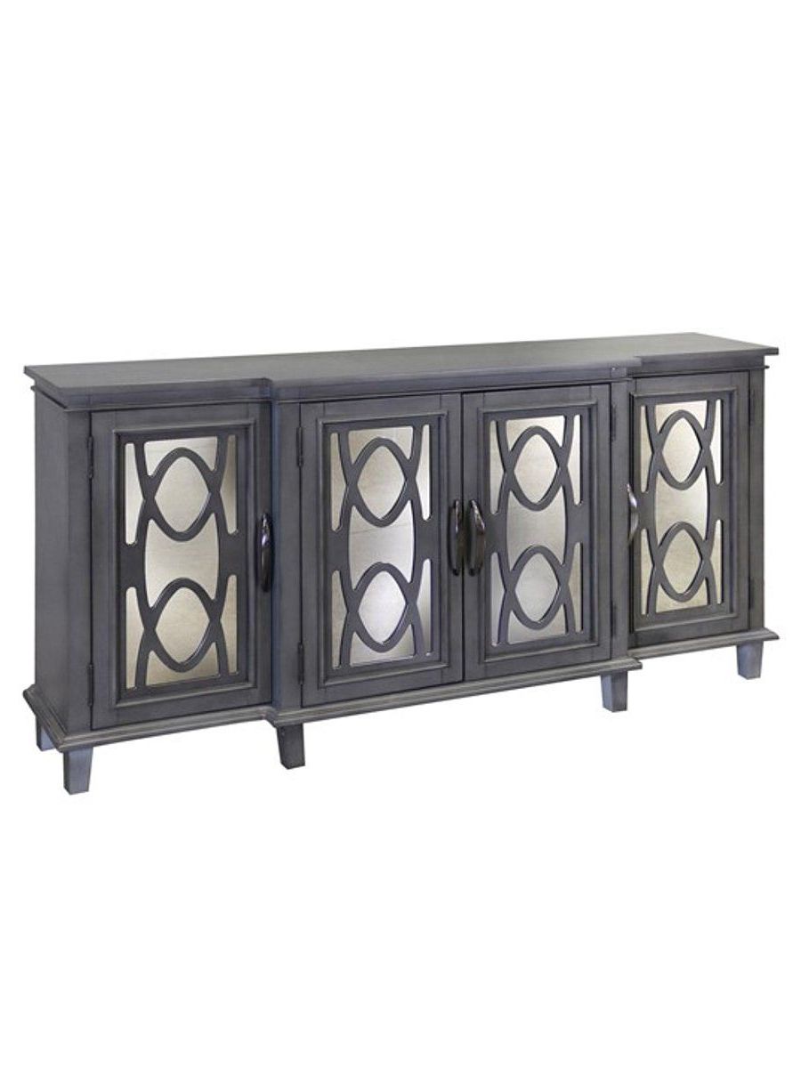 """Reclaimed Elm 71 Inch Sideboards Throughout Preferred Johnston 70"""" Breakfront Media Console – Gray (View 15 of 20)"""