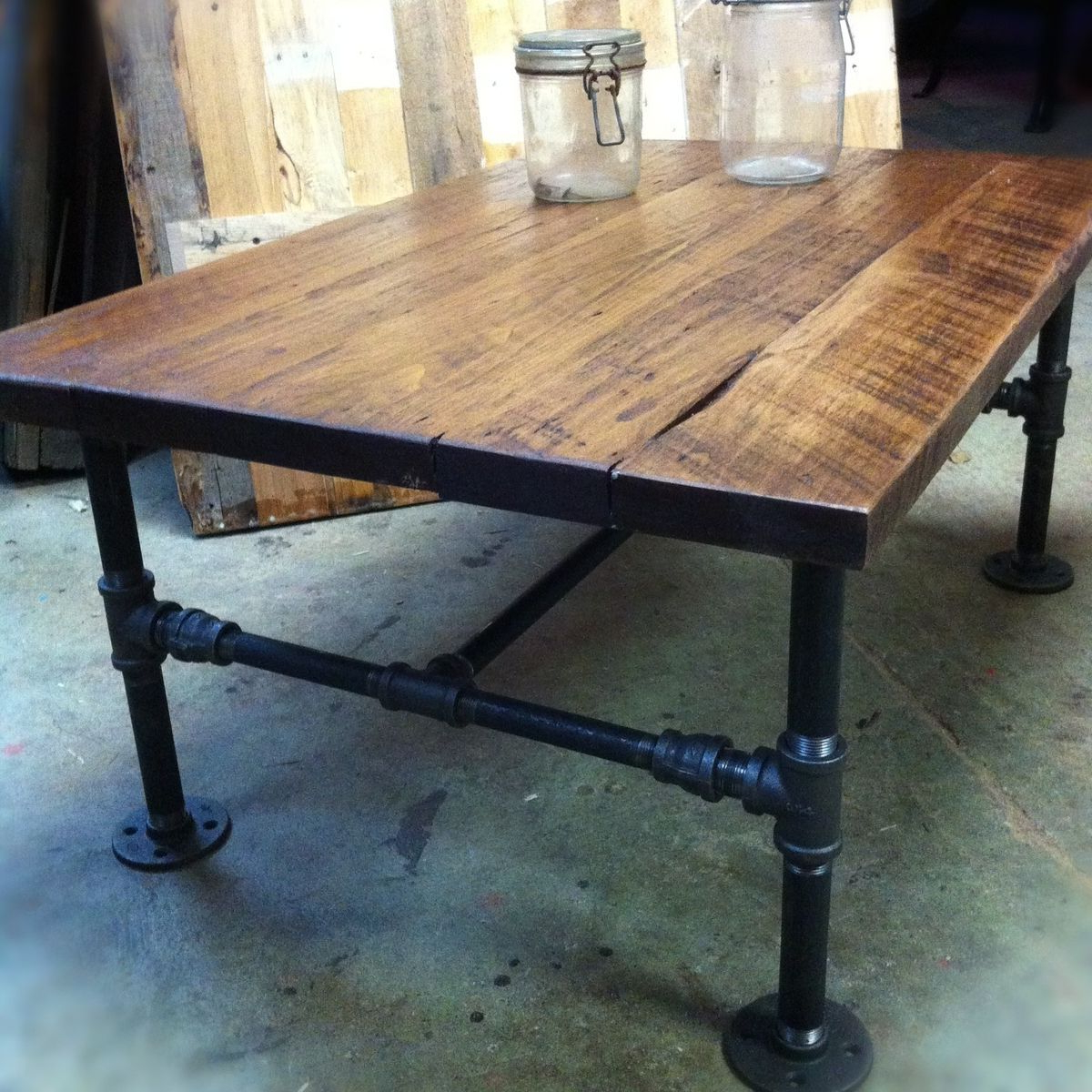 Reclaimed Elm Cast Iron Coffee Tables Throughout Most Recently Released Coffee Table Made From Reclaimed Wood And Black Iron Piping (Gallery 3 of 20)