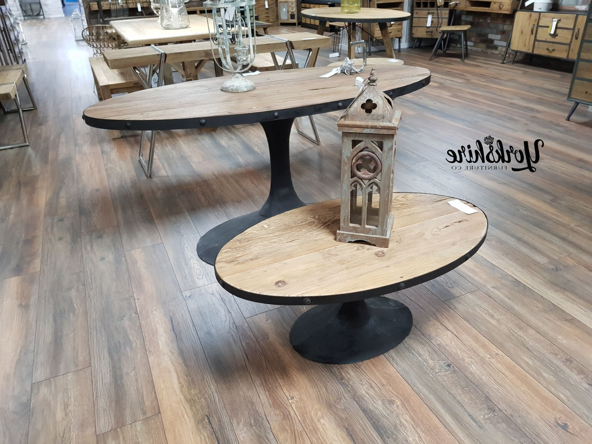 Reclaimed Elm Cast Iron Coffee Tables Within Most Recently Released Oval Reclaimed Wood Cast Iron Coffee Table (View 17 of 20)