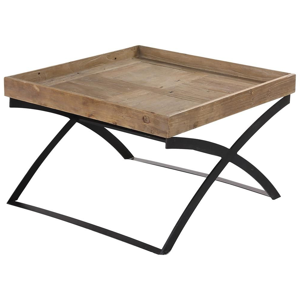 Reclaimed Elm Iron Coffee Tables For Widely Used Senex Rustic Lodge Reclaimed Elm Iron X Frame Coffee Table (Gallery 15 of 20)