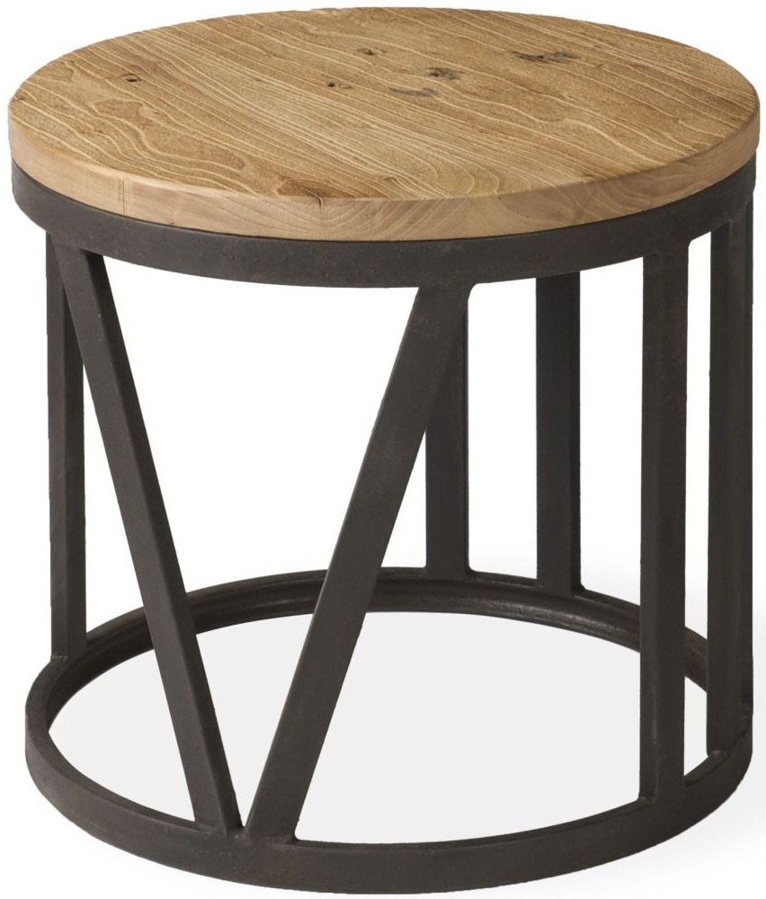 Reclaimed Elm Iron Coffee Tables With Regard To Best And Newest Ives Rustic Reclaimed Elm Iron Frame Small Coffee Table (View 15 of 20)