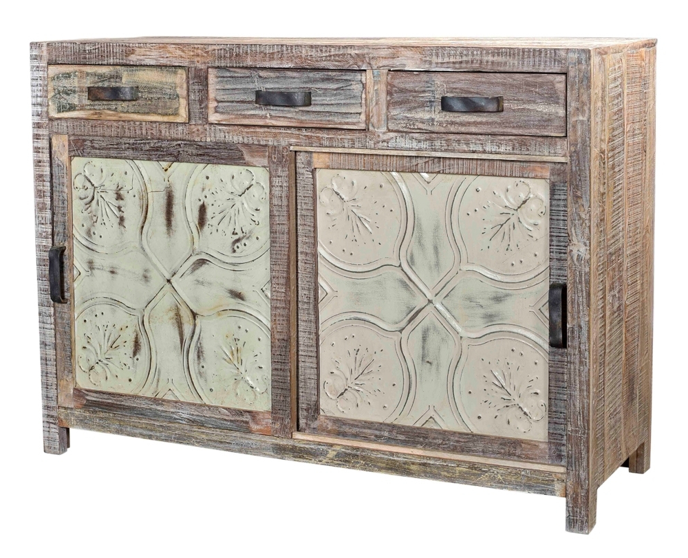 Reclaimed Indian Wood Sideboard With Embossed Metal Panel Doors With Regard To Most Recently Released Reclaimed Sideboards With Metal Panel (Gallery 1 of 20)