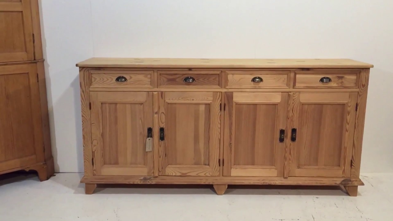 Reclaimed Pine 4 Door Sideboards Inside 2019 Large Reclaimed Pine Kitchen Sideboard For Sale – Pinefinders Old (View 15 of 20)
