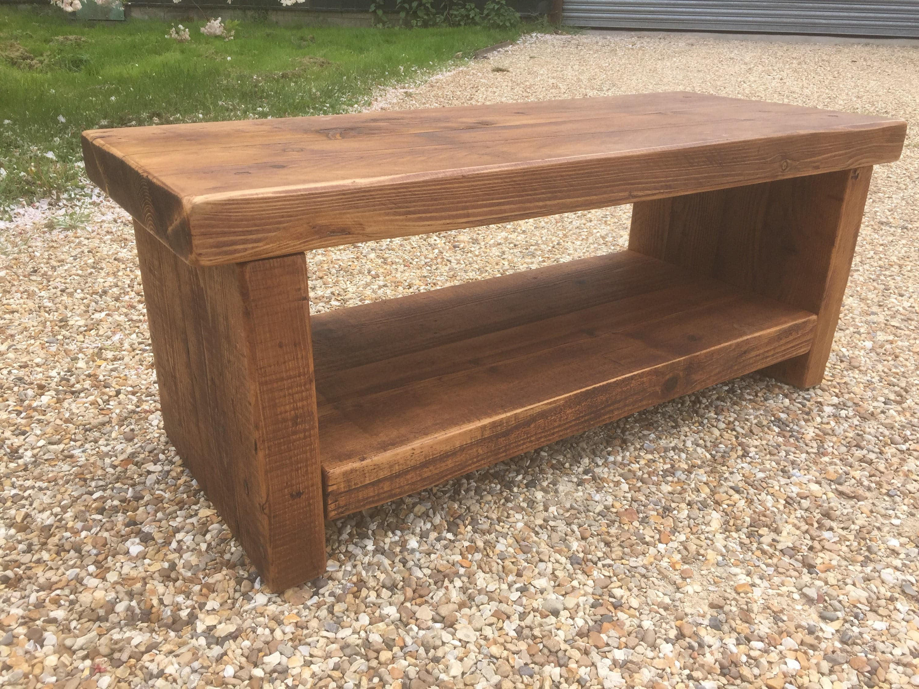 Reclaimed Pine Coffee Tables In Favorite Reclaimed Bespoke Rustic Solid Pine Tv Stand Or Coffee Table With (Gallery 13 of 20)
