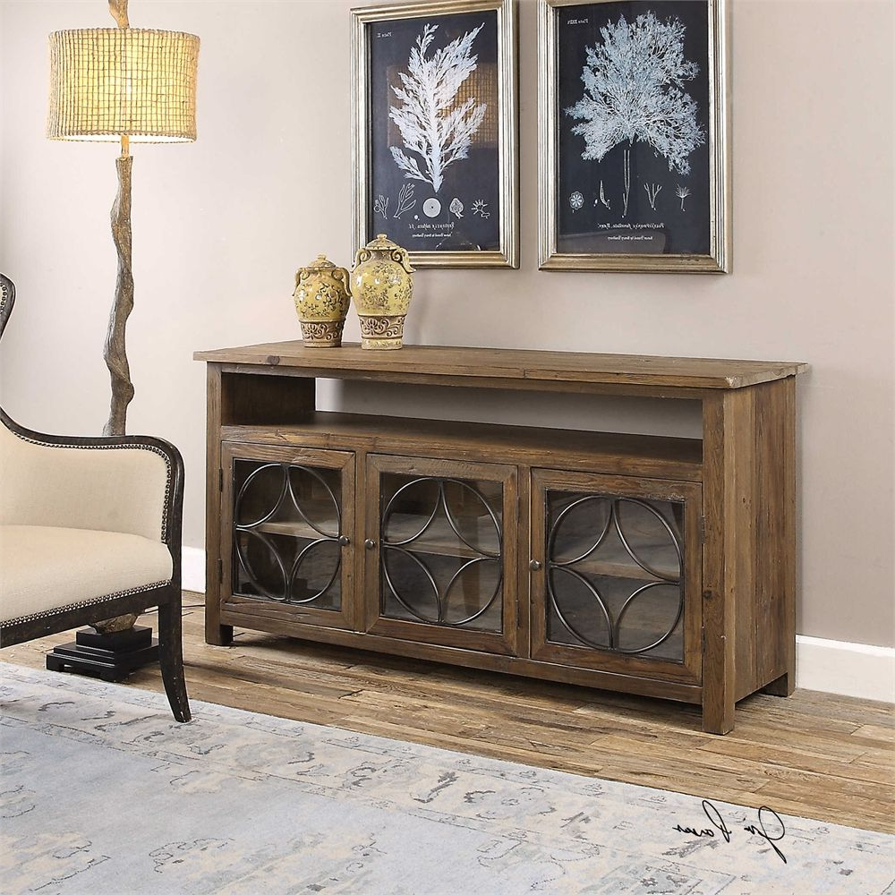 Reclaimed Pine & Iron 4 Door Sideboards Regarding Trendy Uttermost Dearborn Reclaimed Pine Credenza (Gallery 15 of 20)