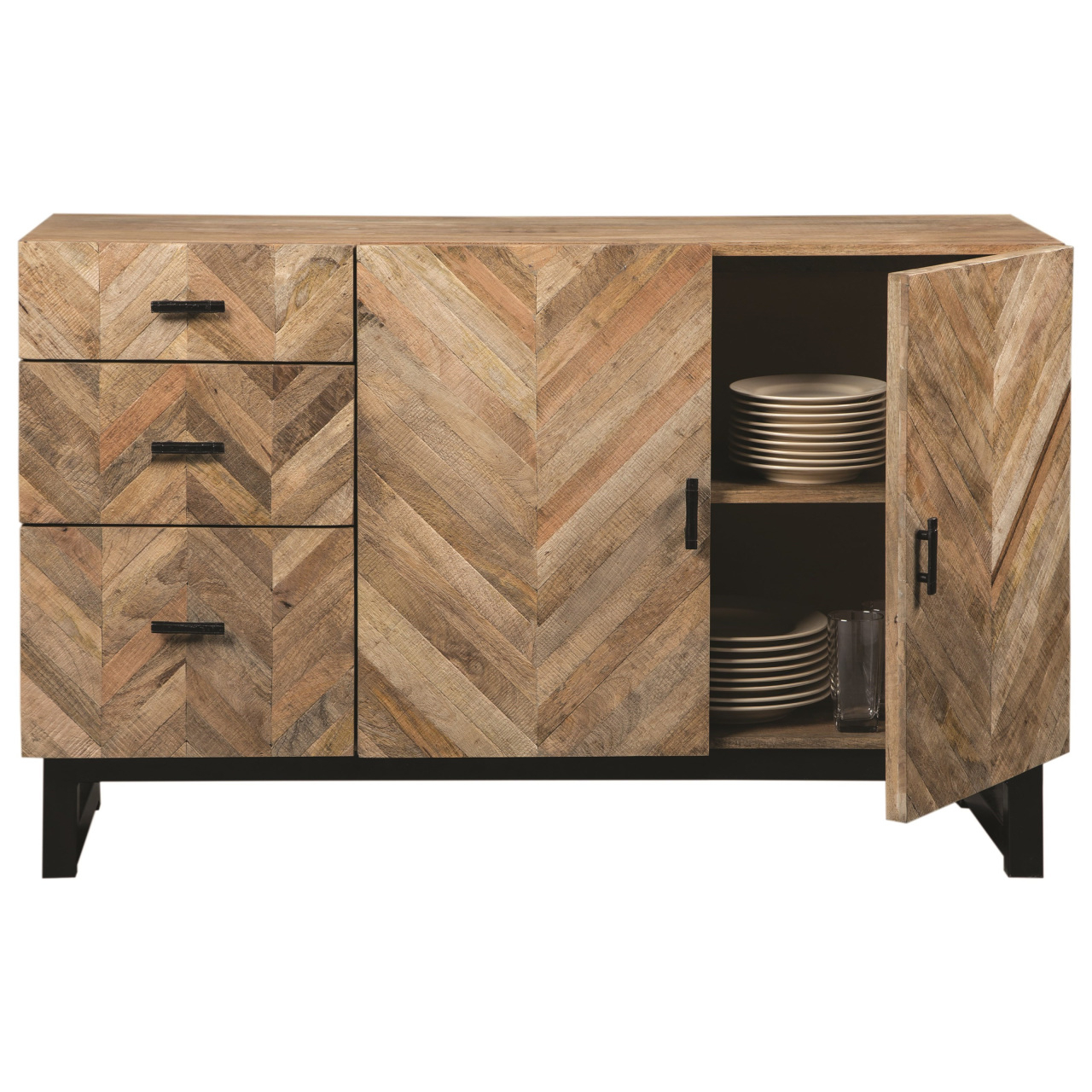 Reclaimed Pine & Iron 72 Inch Sideboards Intended For Trendy Accents – Hello Furniture (Gallery 12 of 20)