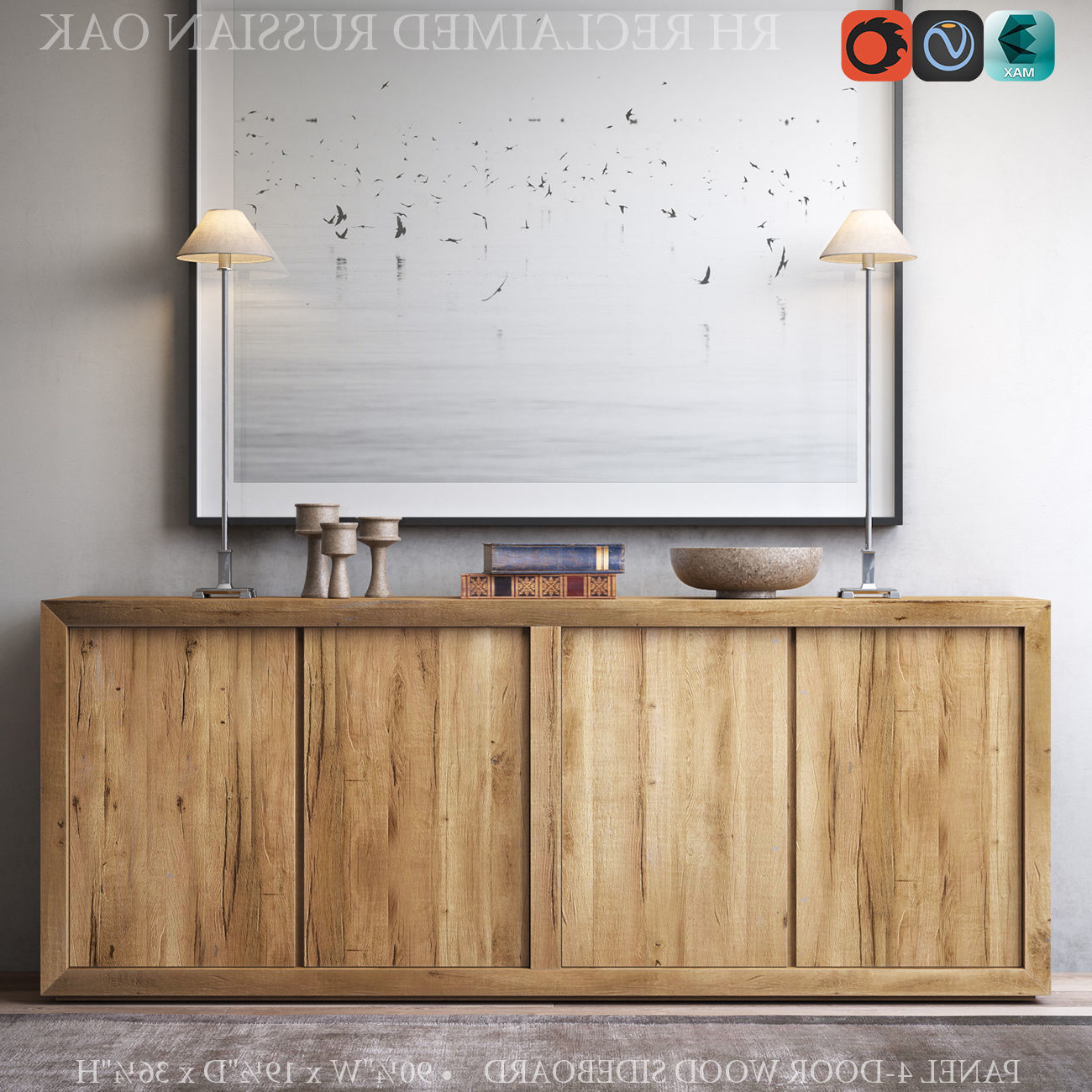 Reclaimed Sideboards With Metal Panel In Newest Reclaimed Russian Oak Panel 4 Door Wood Sideboard 3D Model Max Obj (Gallery 9 of 20)