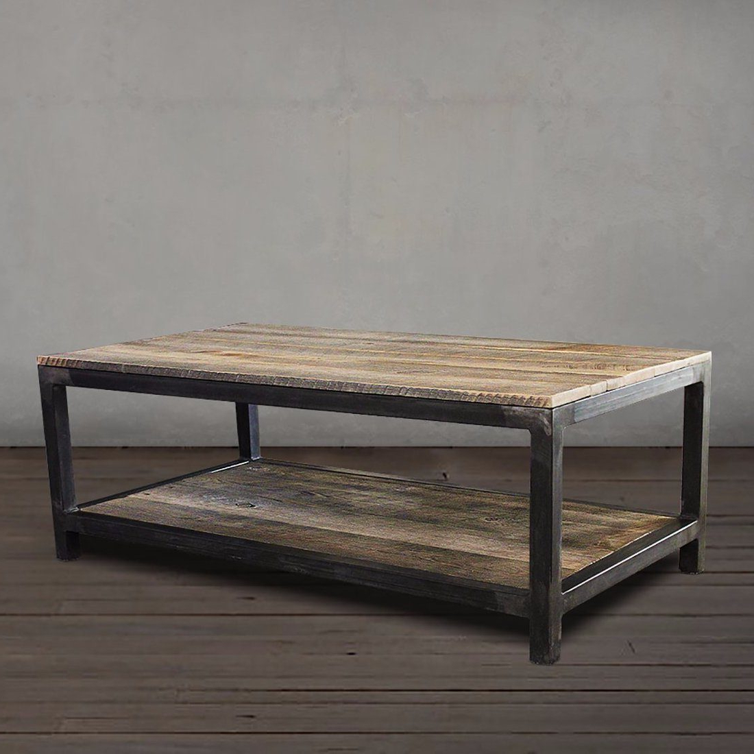 Reclaimed Wood And Metal Coffee Table Two Tier In  (View 15 of 20)