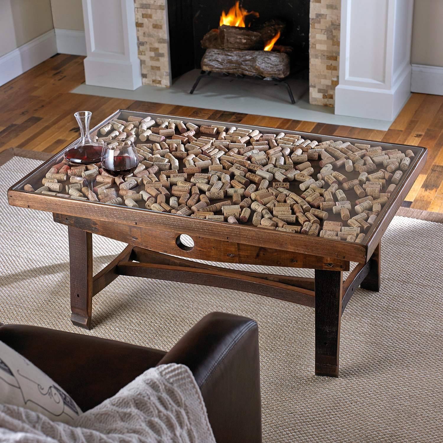 Rectangular Barbox Coffee Tables Throughout Best And Newest Collector's Display Top Coffee Table With Barrel Stave Legs – Wine (Gallery 4 of 20)