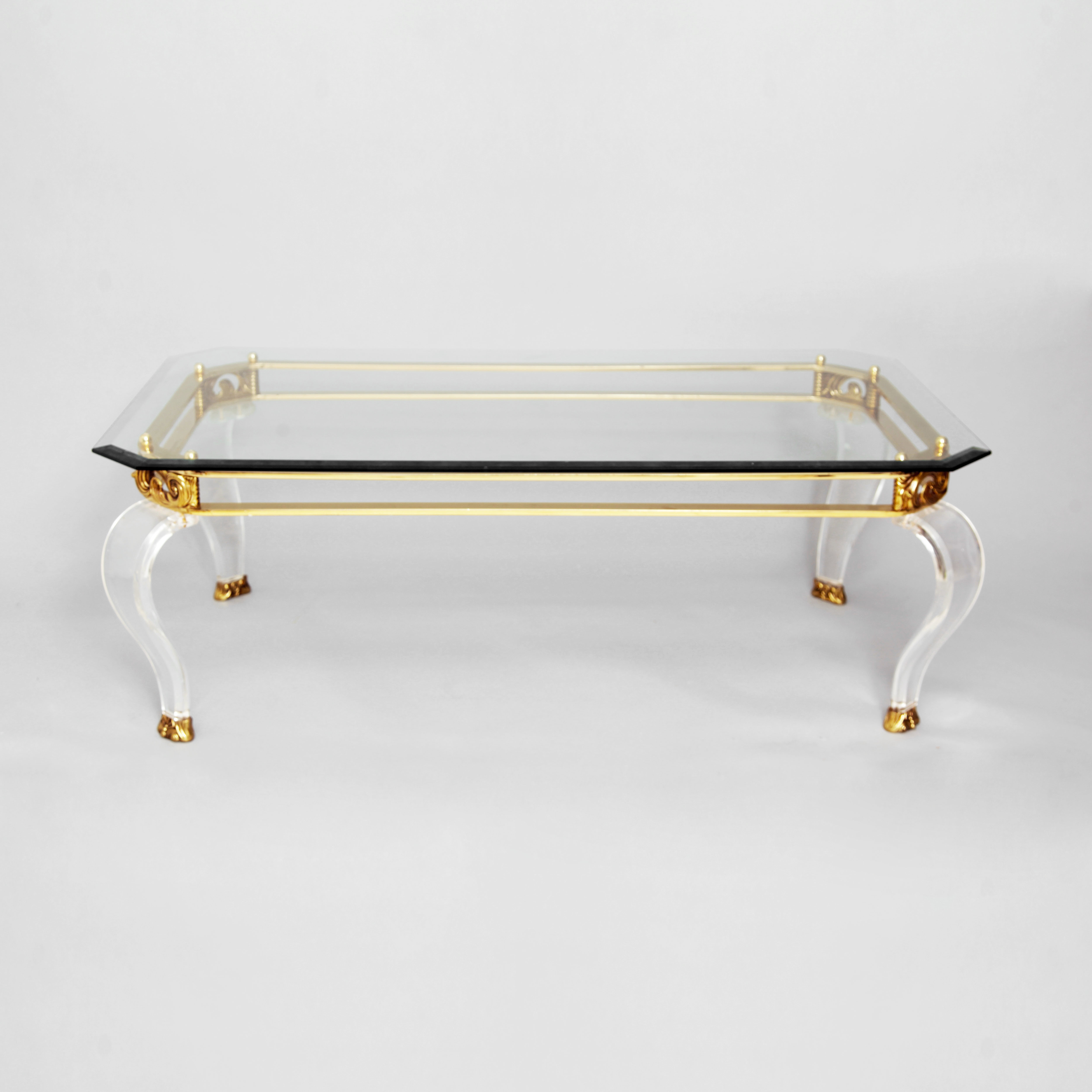 Rectangular Coffee Tables With Brass Legs Throughout Well Liked Brass & Curved Lucite Legs Coffee Table (View 13 of 20)