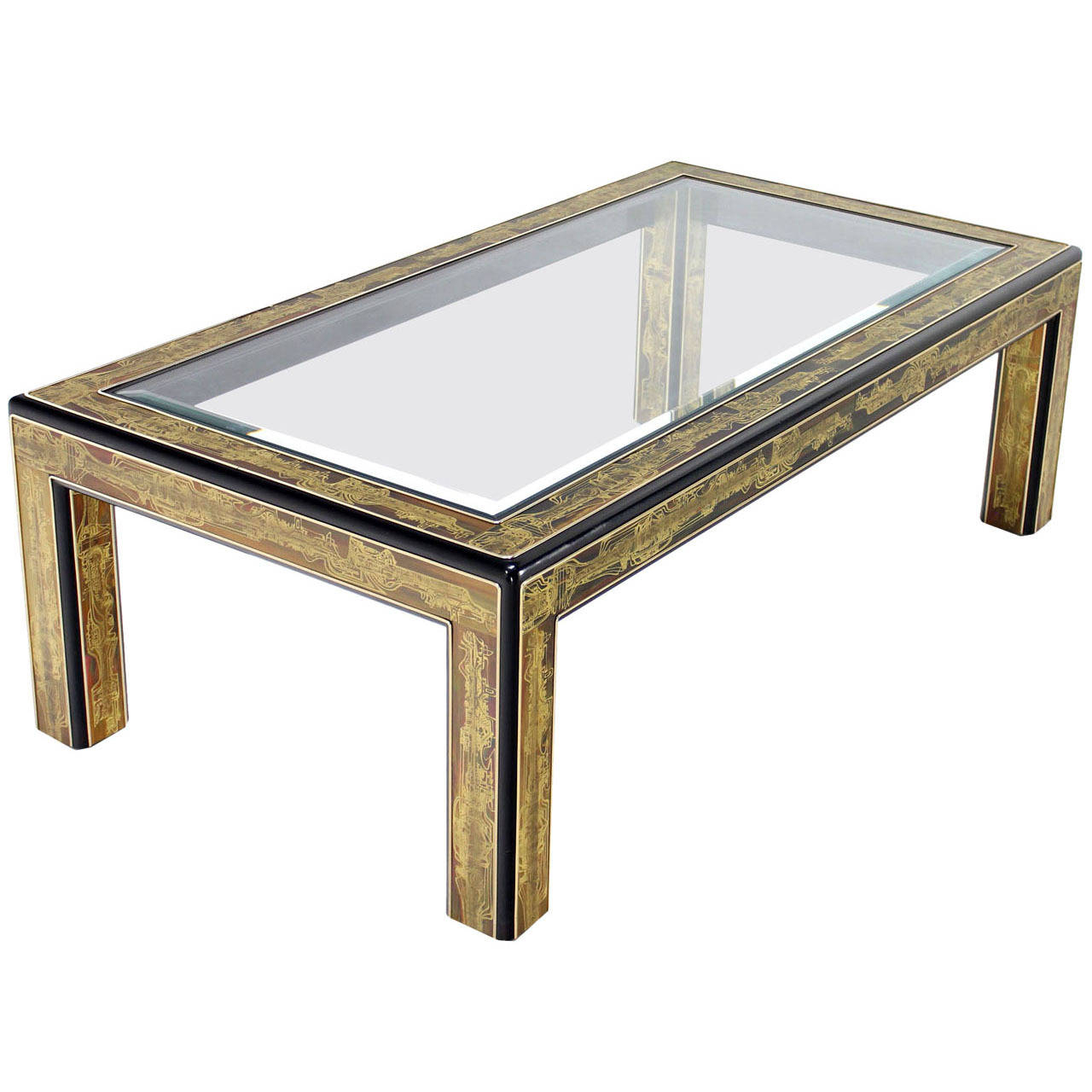 Rectangular Glass Top Brass And Wood Base Coffee Table By For Latest Rectangular Coffee Tables With Brass Legs (Gallery 9 of 20)