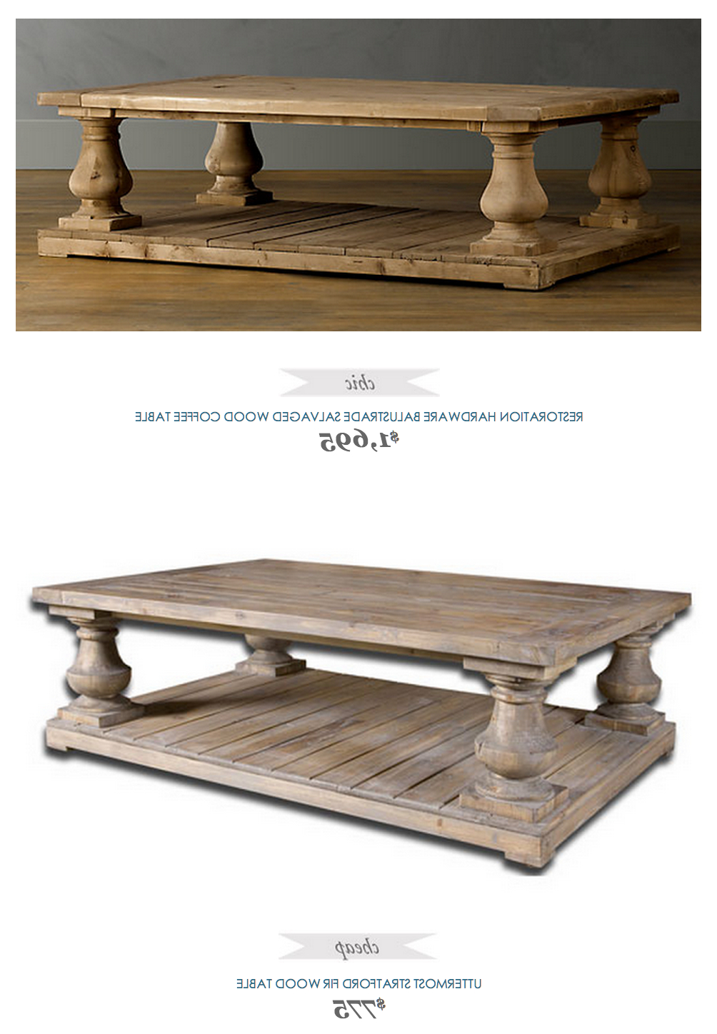 Restoration Hardware Balustrade Salvaged Wood Coffee Table Inside Current Natural 2 Drawer Shutter Coffee Tables (View 13 of 20)