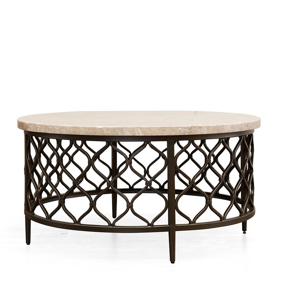 Roland Cream Marble Top Cocktail Table Rl100Ctbl – The Home Depot For Fashionable Shelter Cocktail Tables (View 14 of 20)
