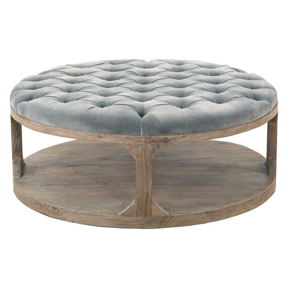 Round Button Tufted Coffee Tables Inside Current Marie French Country Round Muted Teal Tufted Wood Coffee Table (View 8 of 20)