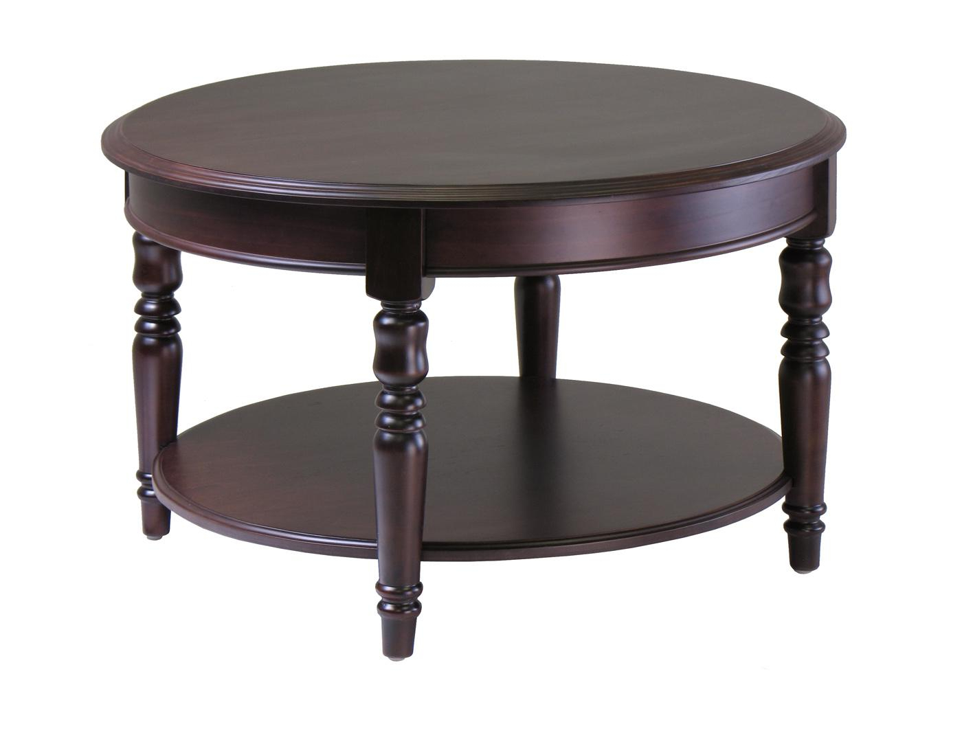 Round Carved Wood Coffee Tables For Latest Winsome Wood Whitman Round Coffee Table Carved Legs – $ (View 17 of 20)
