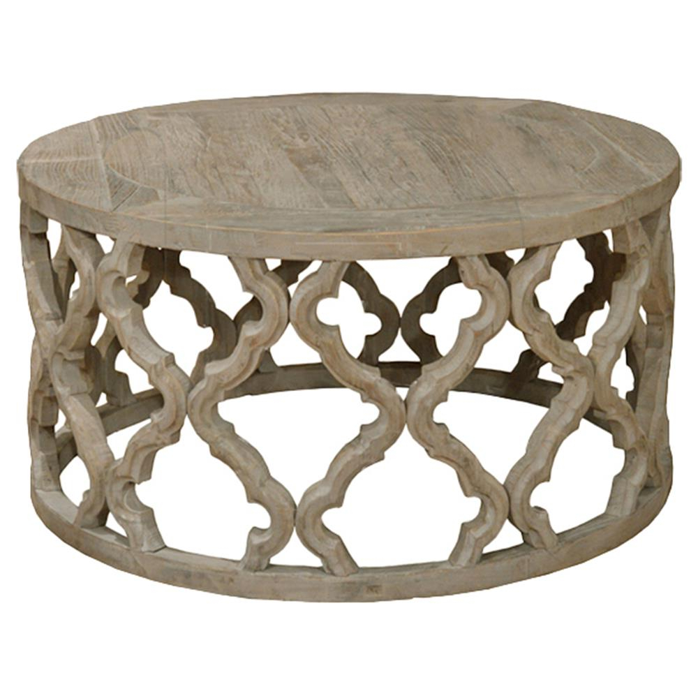 Round Carved Wood Coffee Tables Regarding Most Up To Date Dionne French Rustic Round Reclaimed Elm Carved Coffee Table (View 18 of 20)