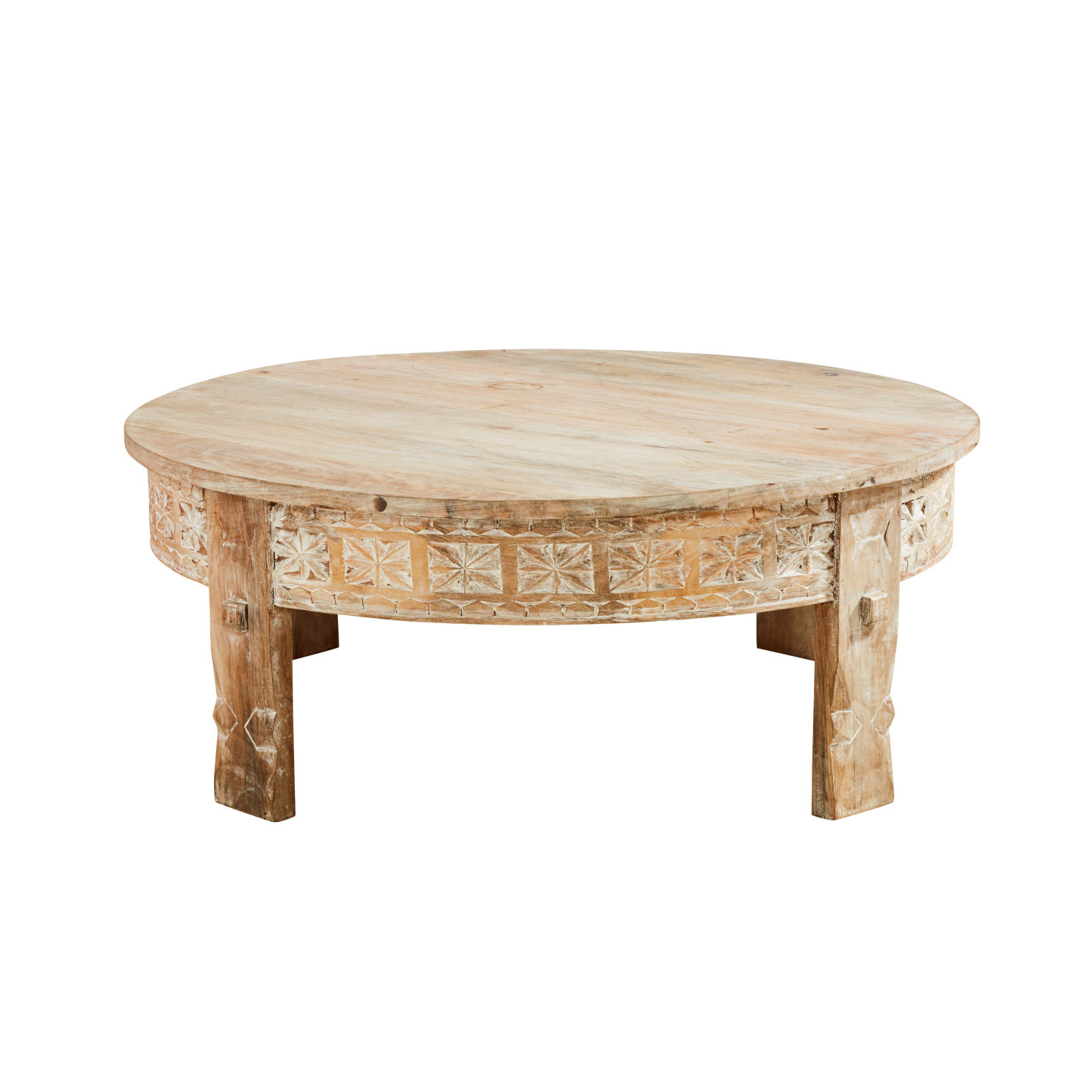 Round Carved Wood Coffee Tables With Regard To Well Known Carved Solid Mango Wood Round Coffee Table Manilal (View 19 of 20)