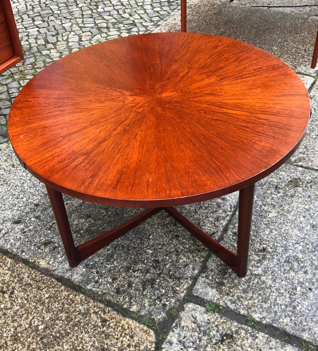 Round Teak Coffee Tables Inside Well Liked Round Teak Starburst Table From Mcintosh, 1960s For Sale At Pamono (View 10 of 20)