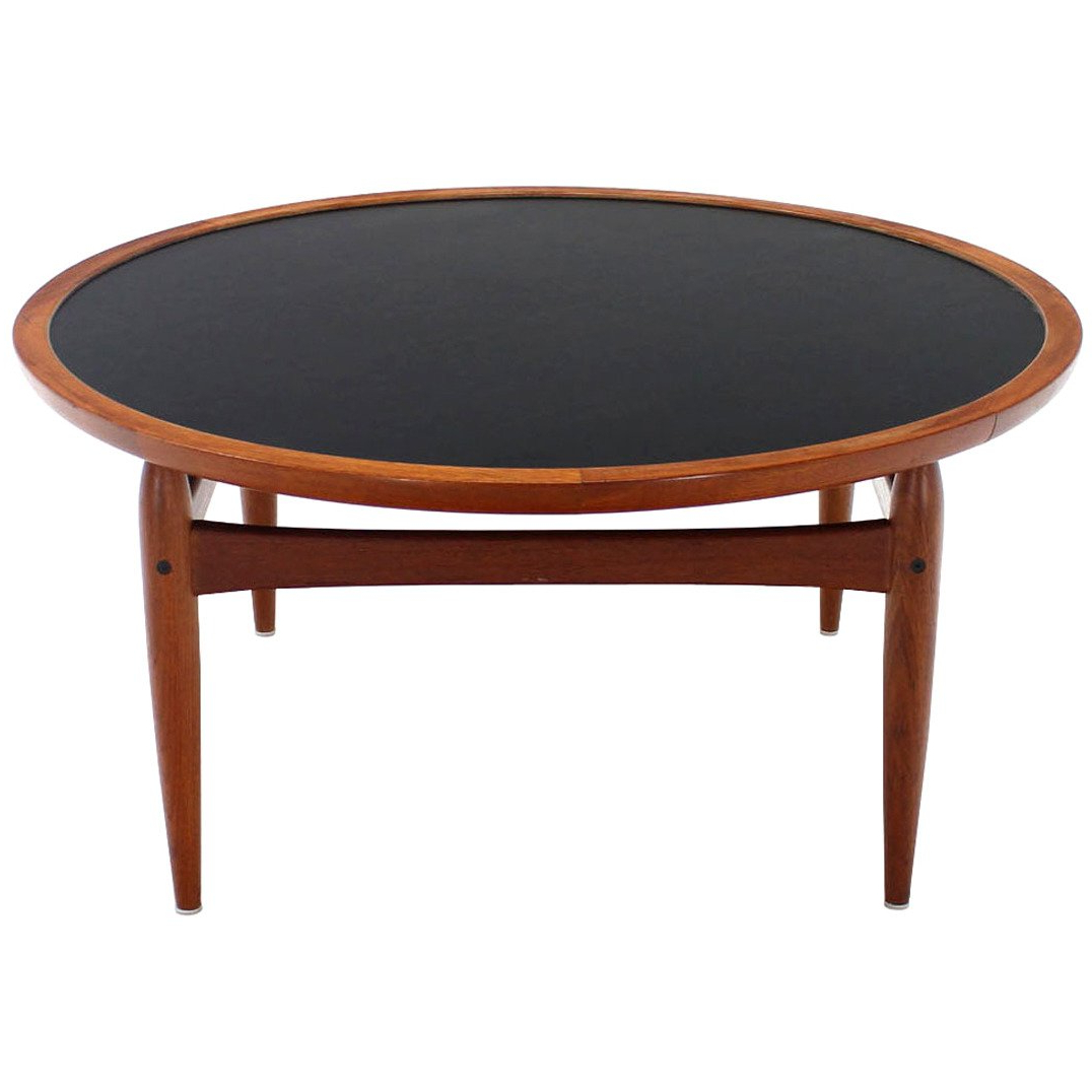 Round Teak Coffee Tables With Regard To Most Popular Reversible Flip Top Danish Modern Round Teak Coffee Table For Sale (View 13 of 20)