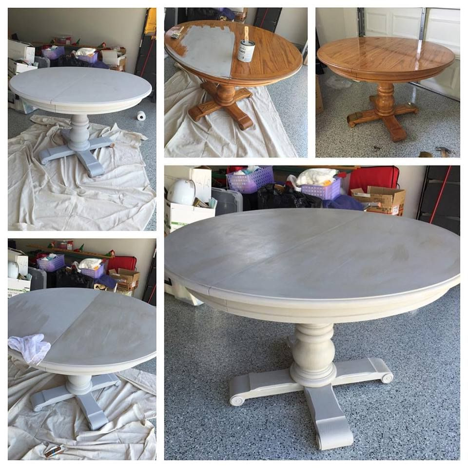 Round White Wash Brass Painted Coffee Tables Inside Well Known Grey Wash Pedestal Dining Table With Annie Sloan Chalk Paint! Paris (View 7 of 20)