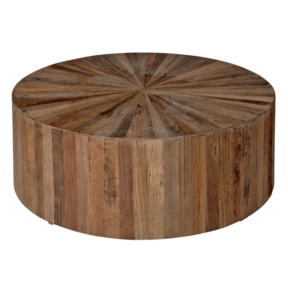 Round White Wash Brass Painted Coffee Tables Intended For Fashionable Cyrano Reclaimed Wood Round Drum Modern Eco Coffee Table (View 9 of 20)
