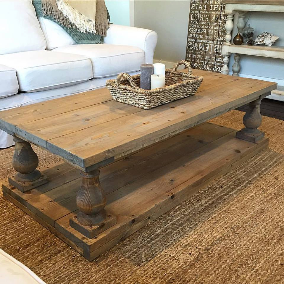Rustic Baluster Wide Plank Coffee Table (View 7 of 20)