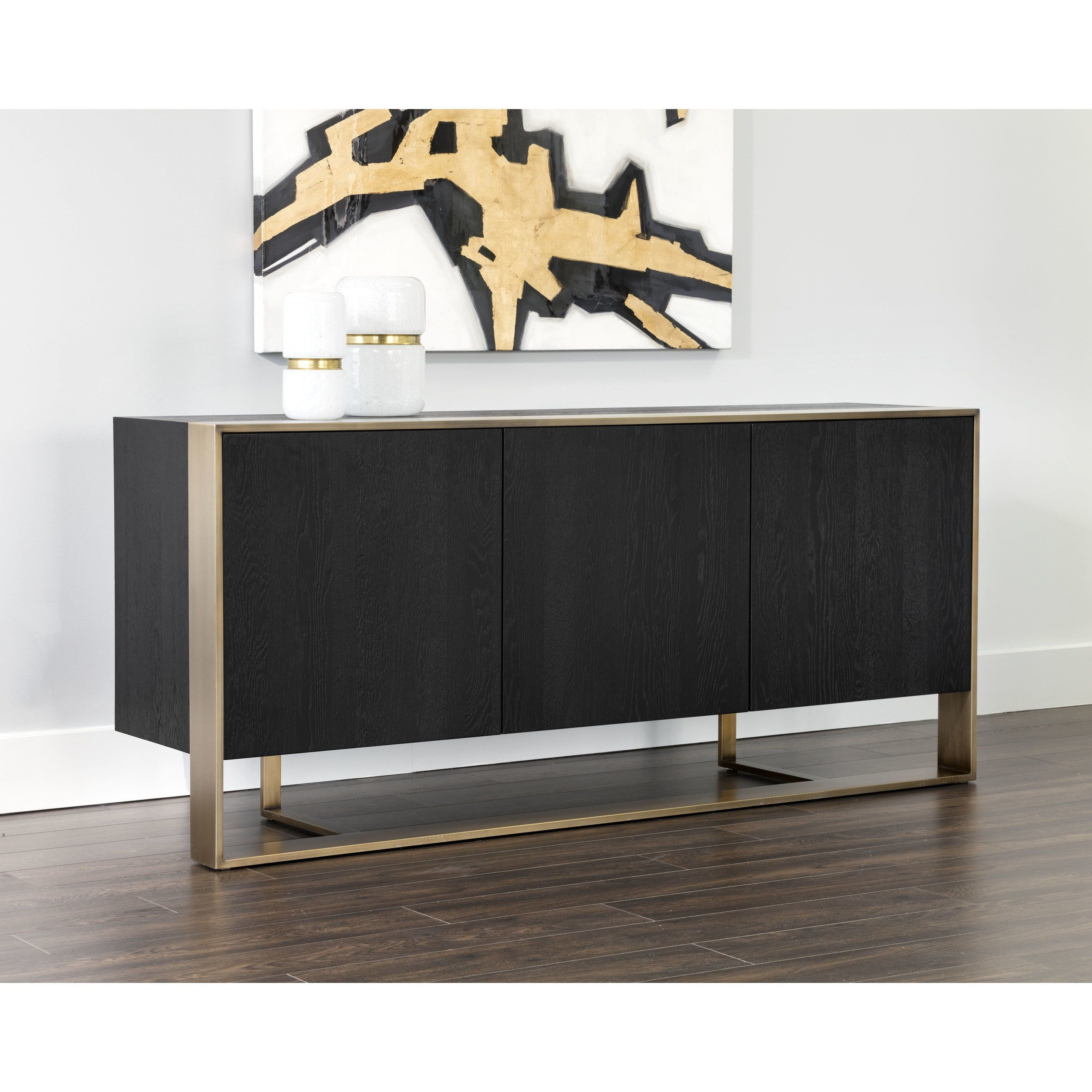 Rustic Black & Zebra Pine Sideboards Within Well Known Sunpan Dalton Black Wood Antique Brass Sideboard (Sideboard (Gallery 12 of 20)