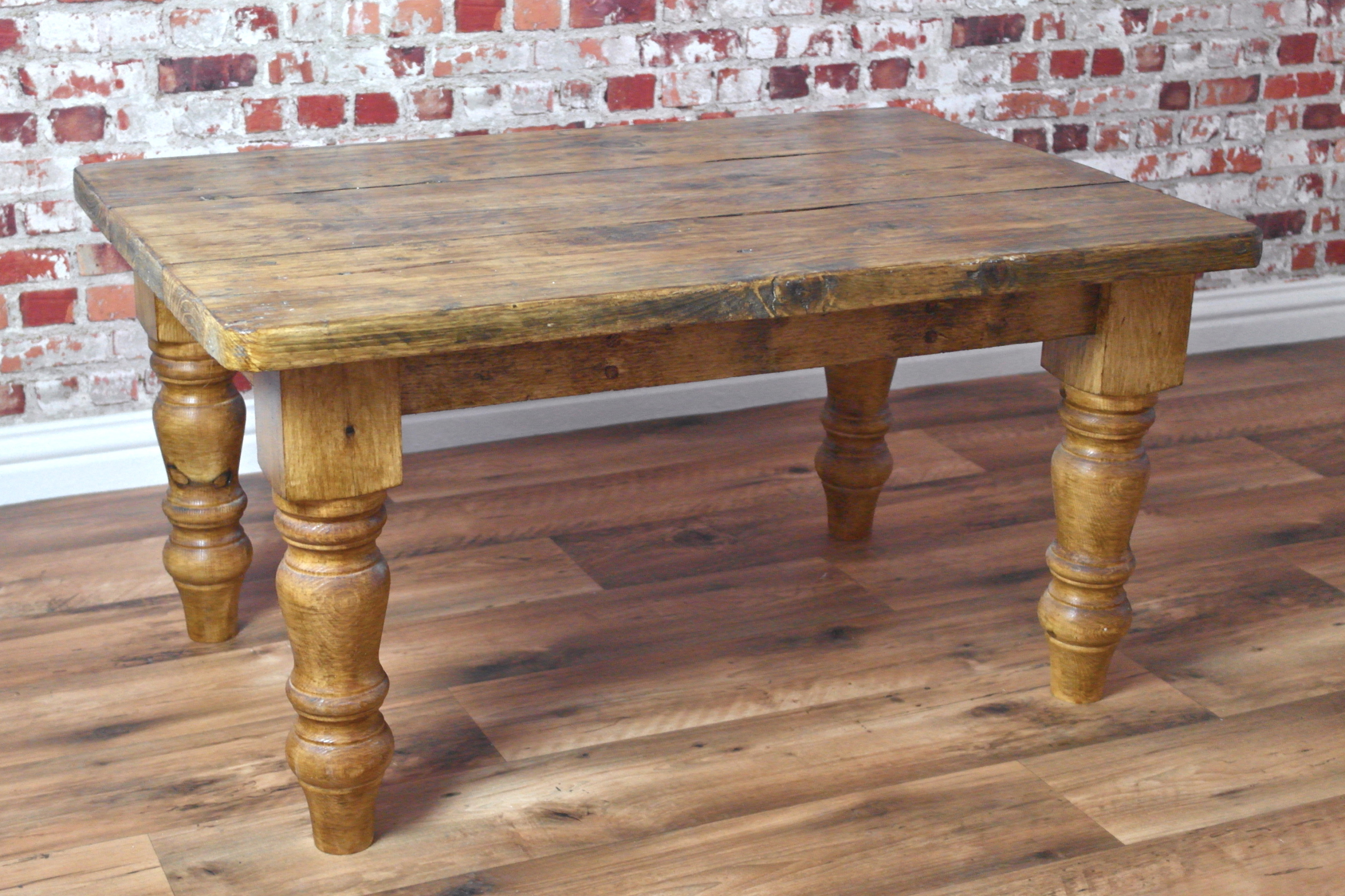 Rustic Farmhouse Pine Coffee Table Made From Reclaimed Wood For 2018 Reclaimed Pine Coffee Tables (View 7 of 20)