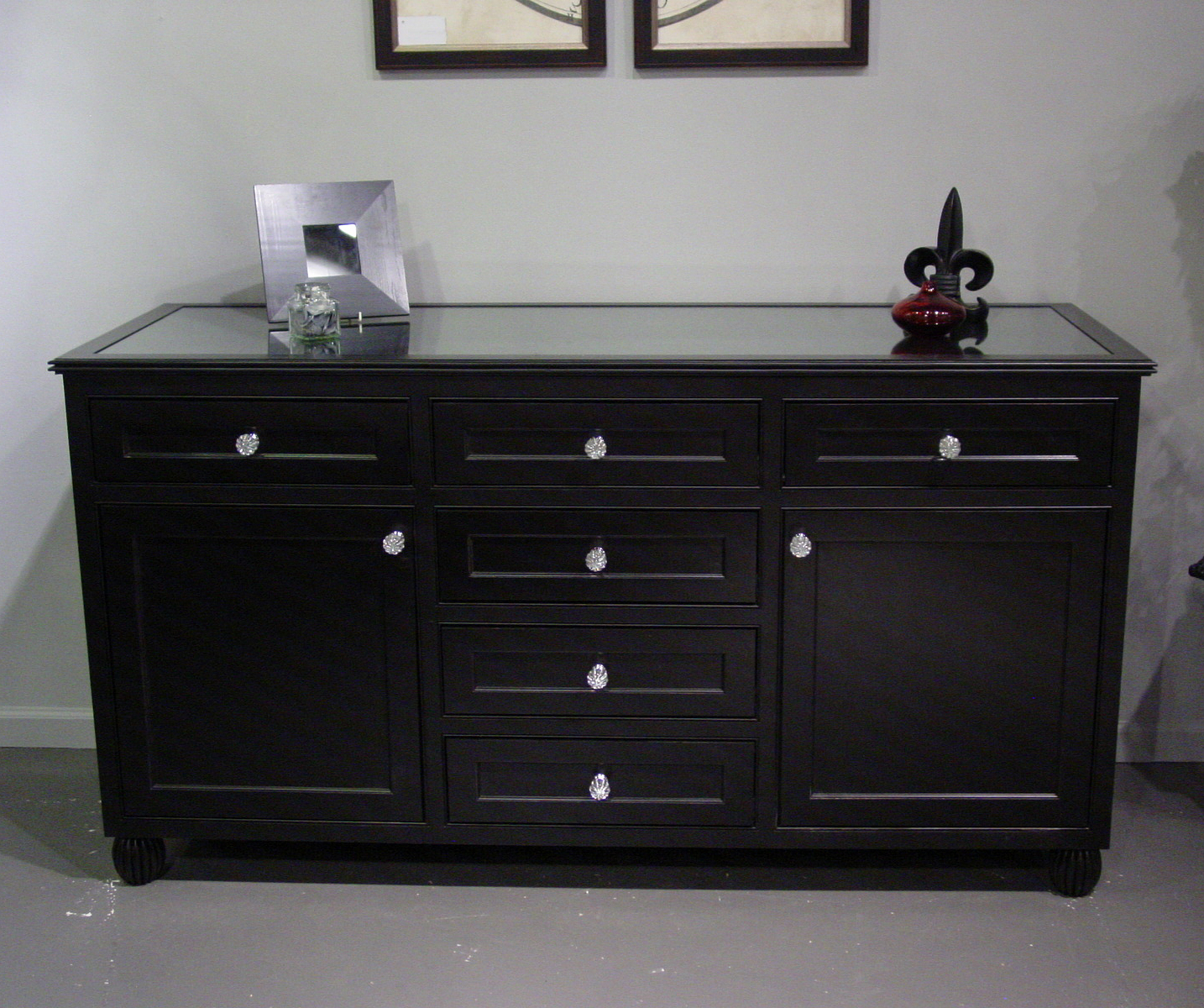 Satin Black & Painted White Sideboards For Well Known Black Painted Dresser With Glass Top (View 16 of 20)