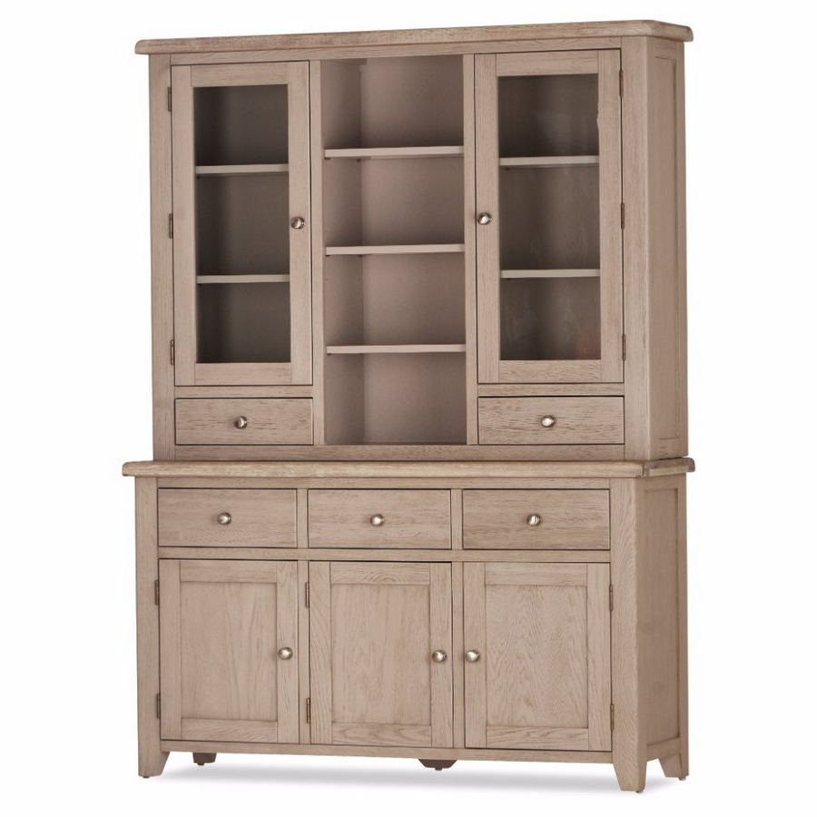 Scotia Grey And Whitewash 3 Door 3 Drawer Sideboard Plus Hutch For Fashionable White Wash 3 Door 3 Drawer Sideboards (Gallery 7 of 20)