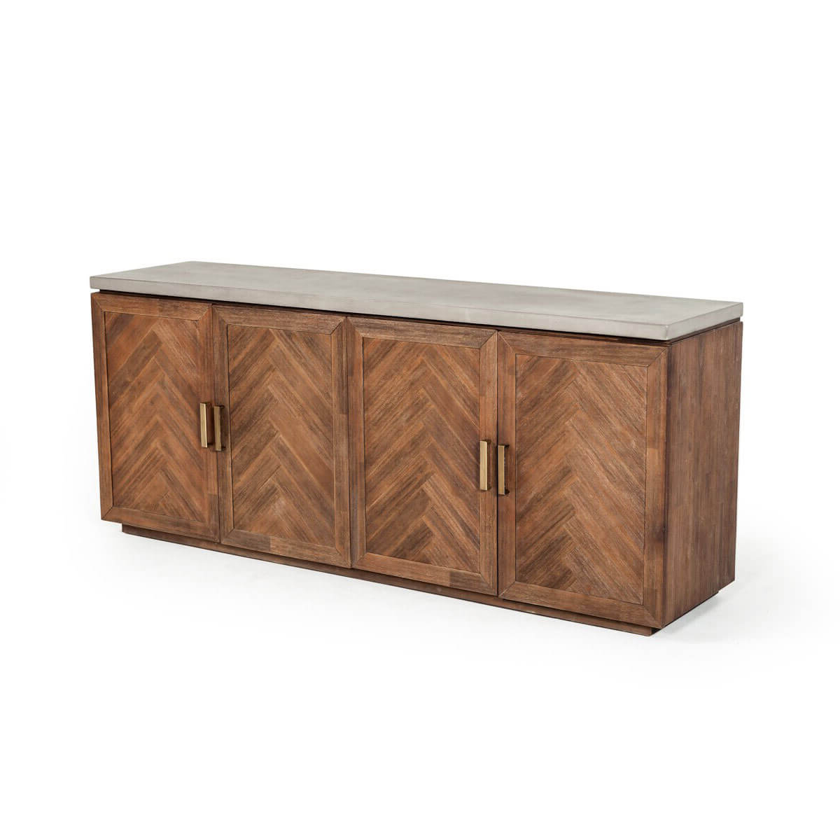 Shasta Modern Concrete And Acacia Buffetvig Furniture Inside Most Popular Acacia Wood 4 Door Sideboards (View 16 of 20)