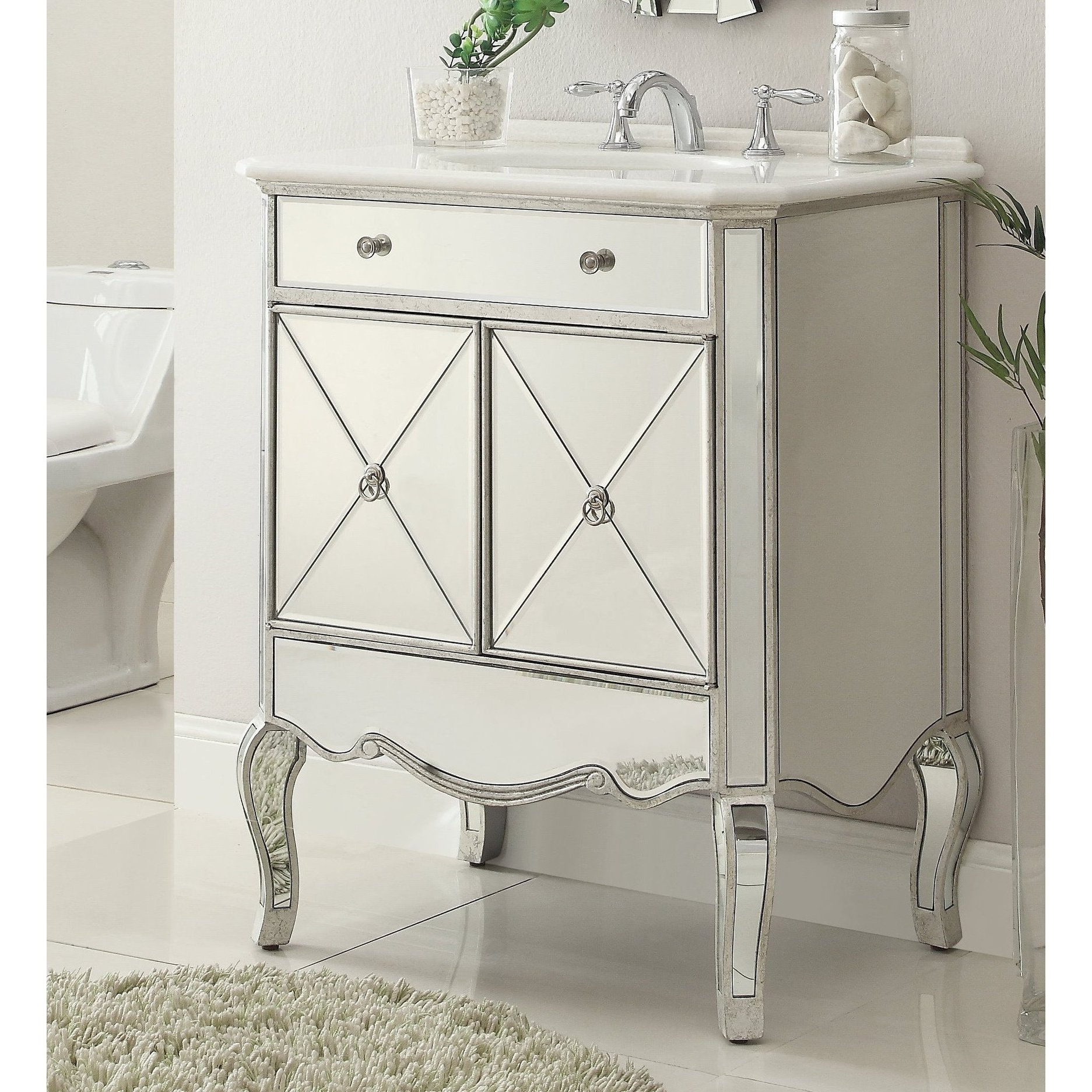 "Shop 30"" Benton Collection Adelisa Contemporary Mirrored Bathroom Pertaining To Most Recent Palazzo 87 Inch Sideboards (Gallery 10 of 20)"