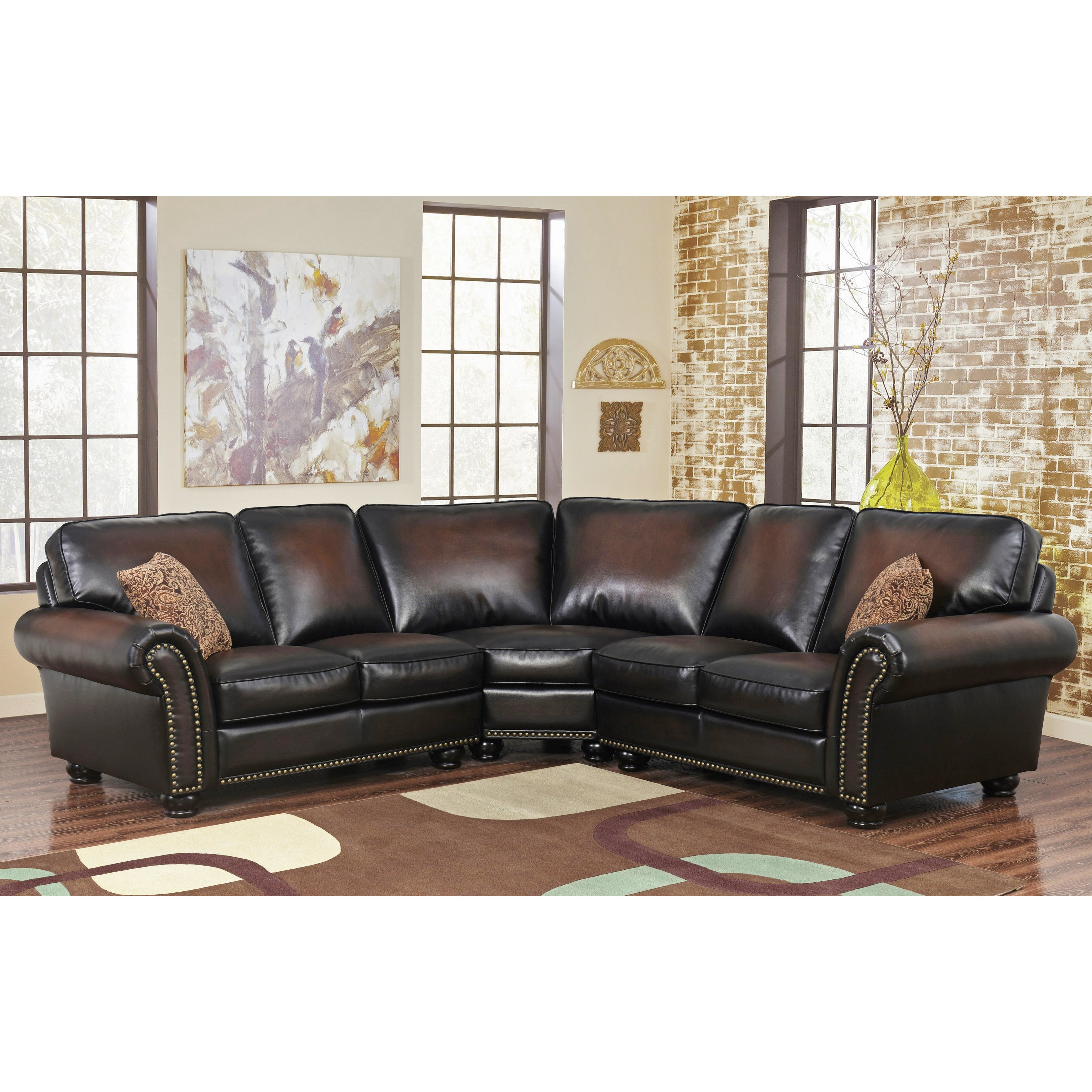 Shop Abbyson Melrose Bonded Leather 3 Piece Sectional – On Sale Regarding Popular Haven 3 Piece Sectionals (View 10 of 20)